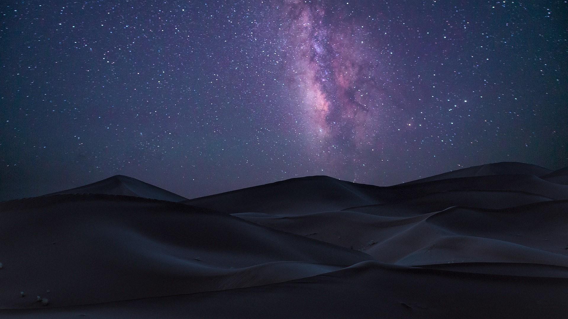 Starry Purple Night Sky, Full HD Wallpaper