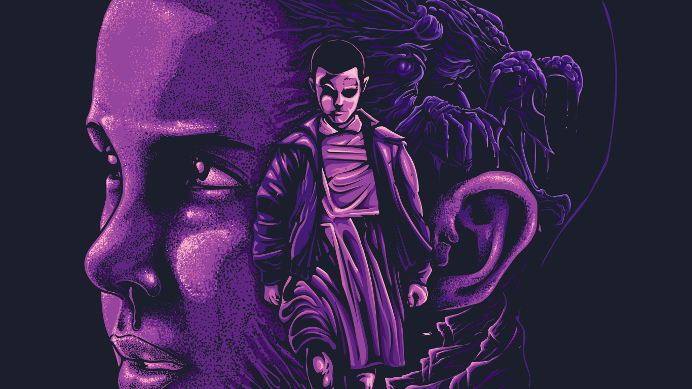 Download stranger things eleven fan artwork 1366x768 - Fan wallpaper download ...
