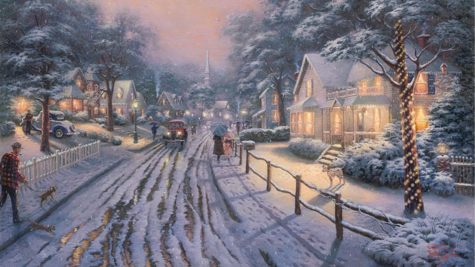 Street City Snow Full HD Wallpaper