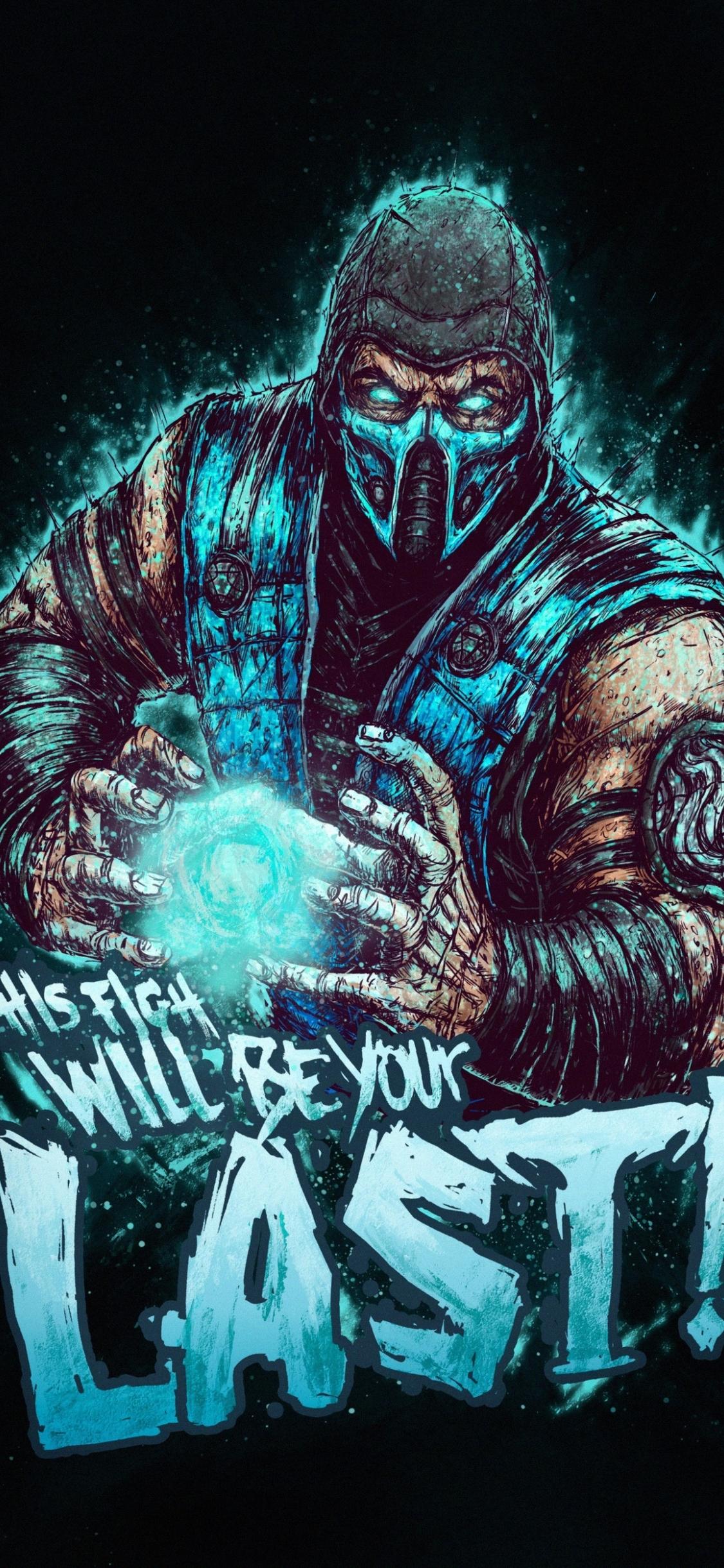 1125x2436 Sub-Zero Mortal Kombat Minimalist Art Iphone XS ...