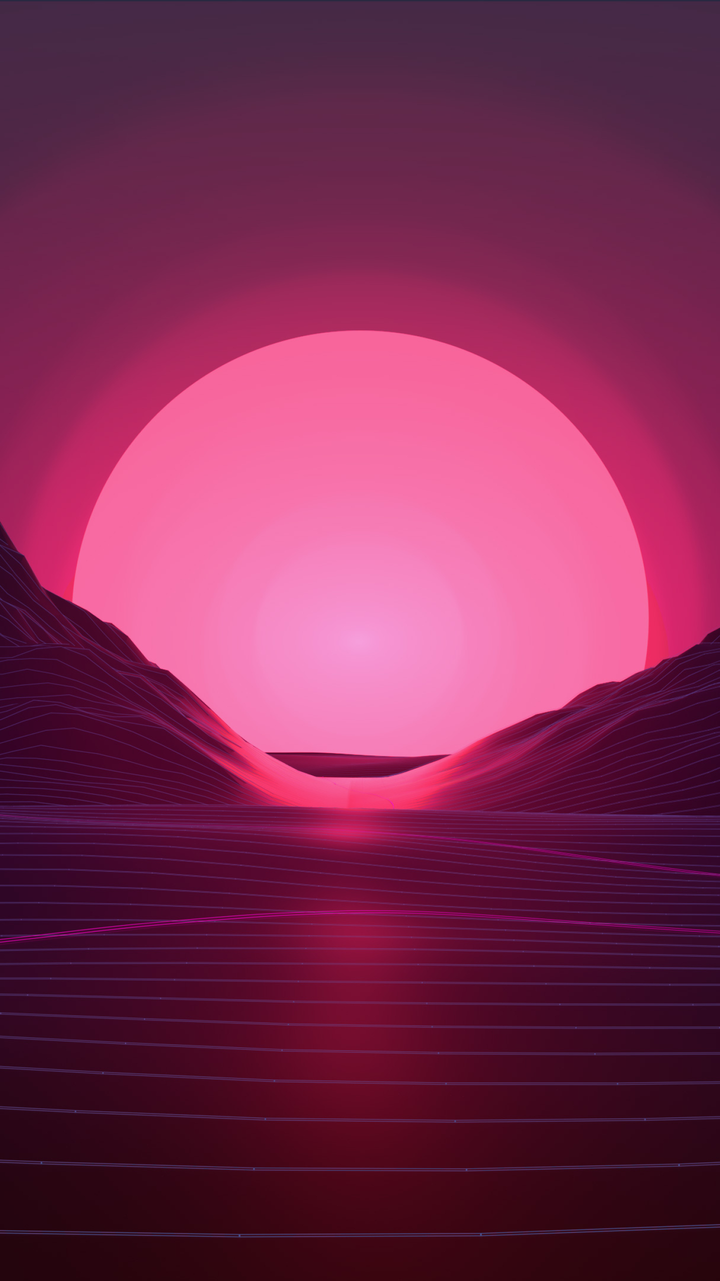 Sun In Retro Wave Mountains Hd 4k Wallpaper
