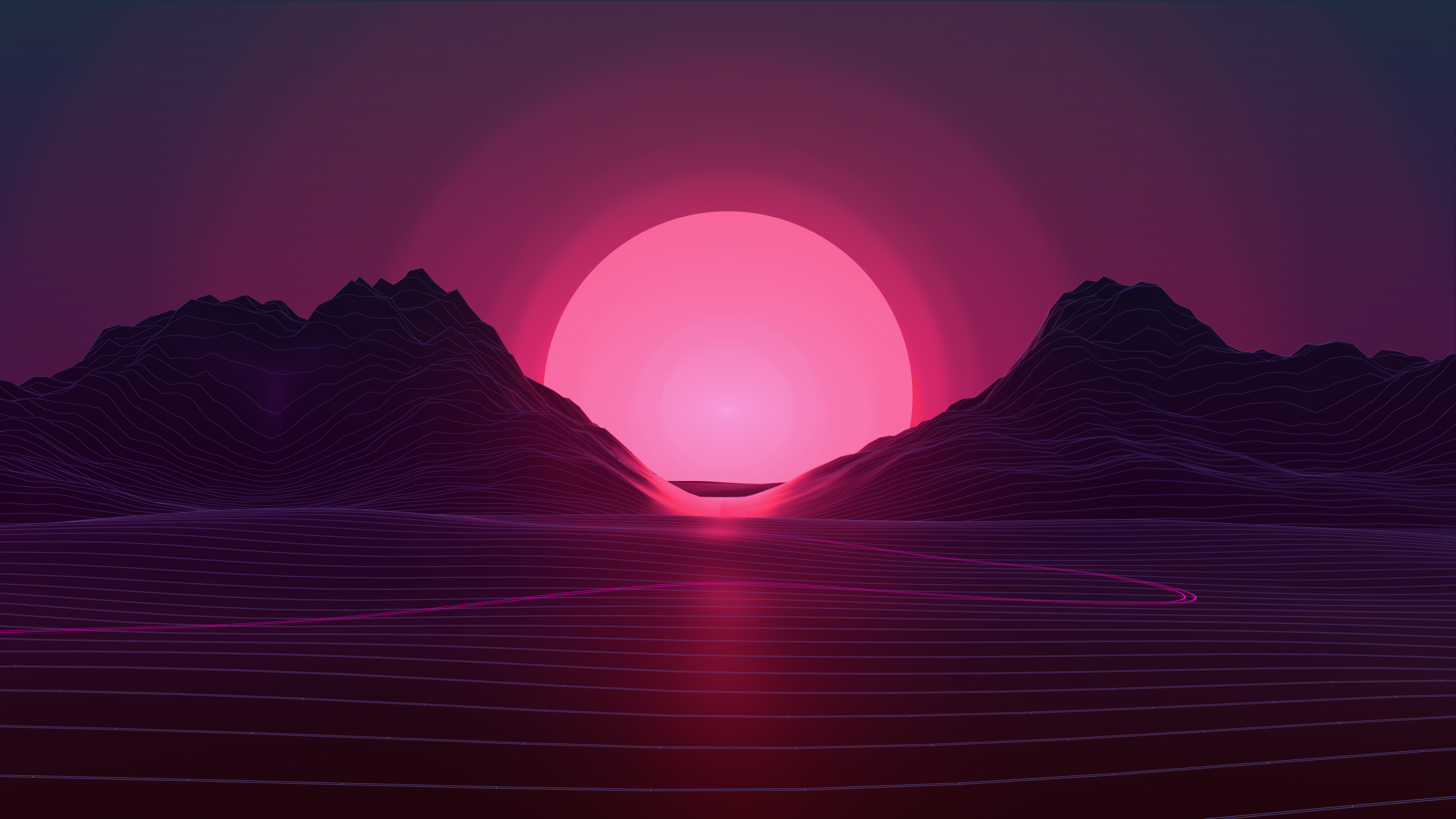 Sun In Retro Wave Mountains  Hd 4k Wallpaper