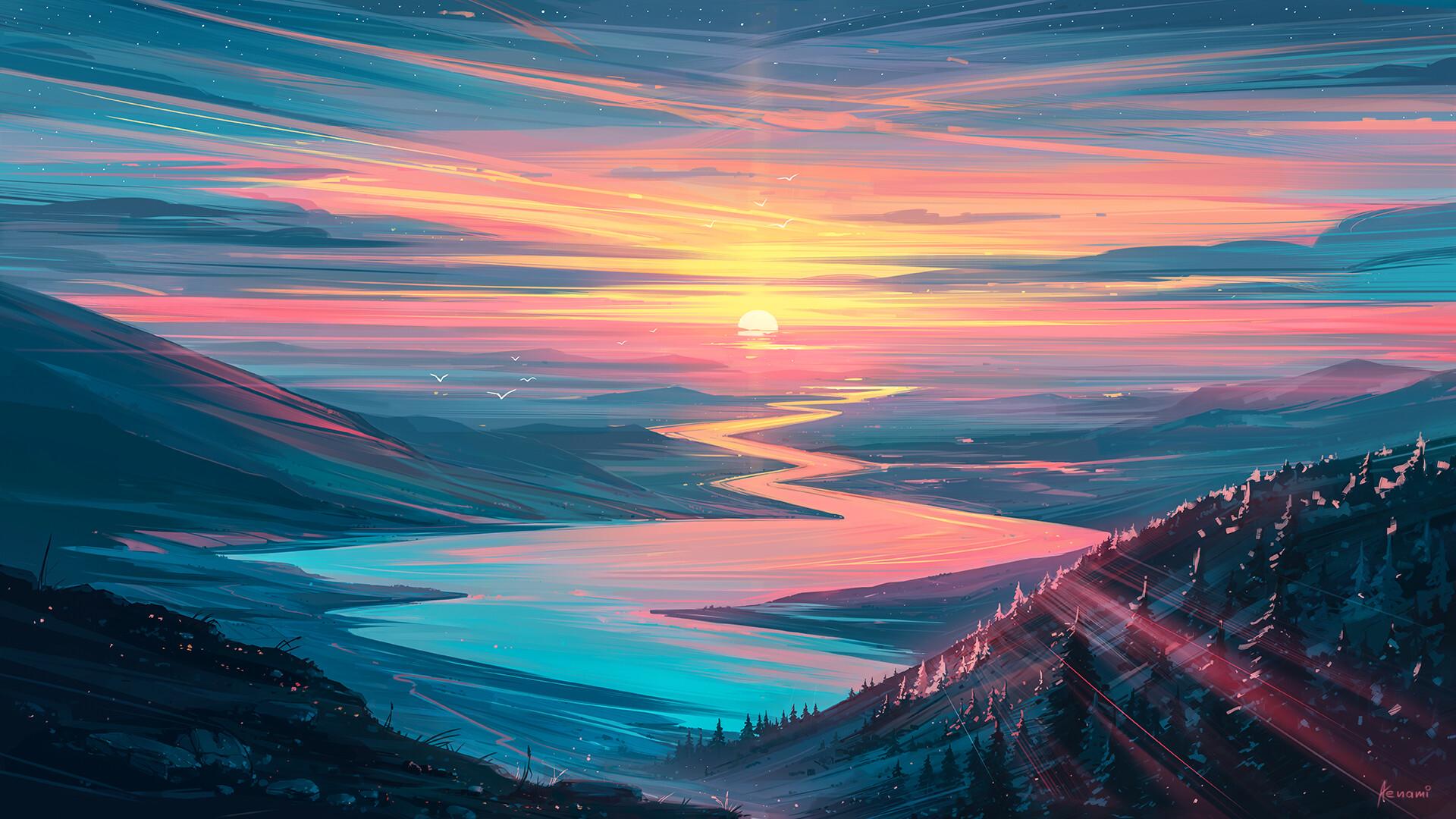 Sunrise Landscape Wallpaper, HD Artist 12K Wallpapers, Images ...