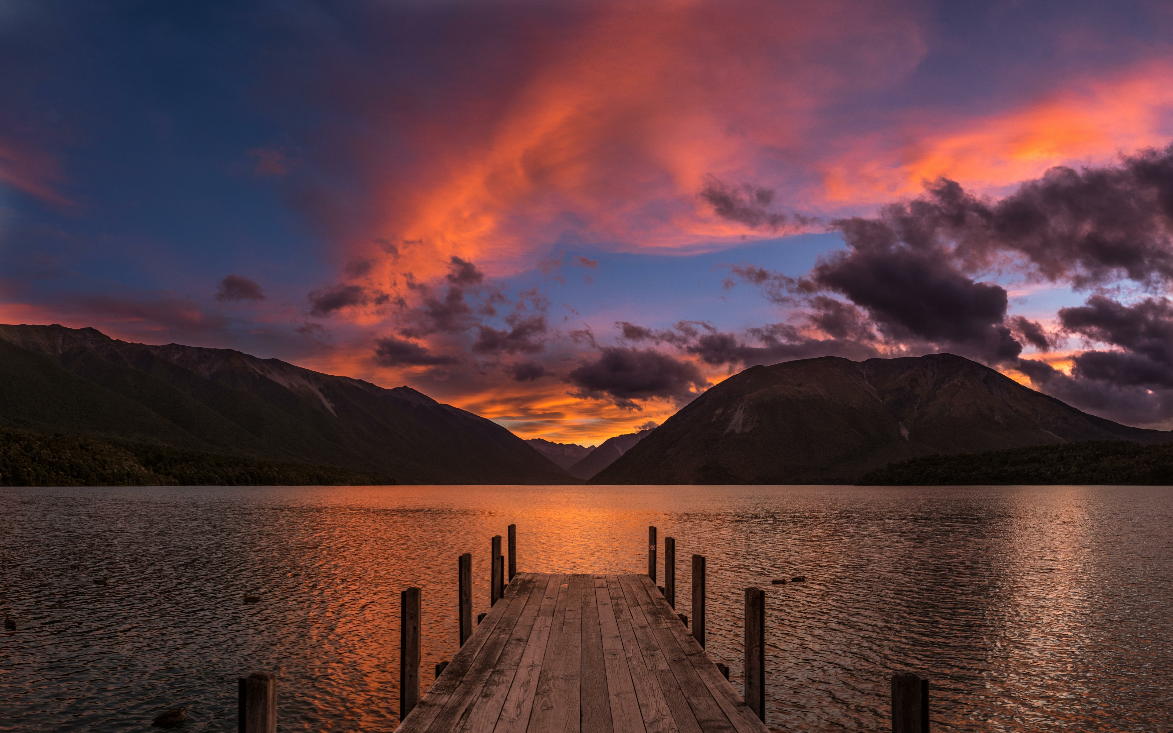 Nz Shooting Video Wallpaper: Sunset At Lake Rotoiti New Zealand, HD 8K Wallpaper