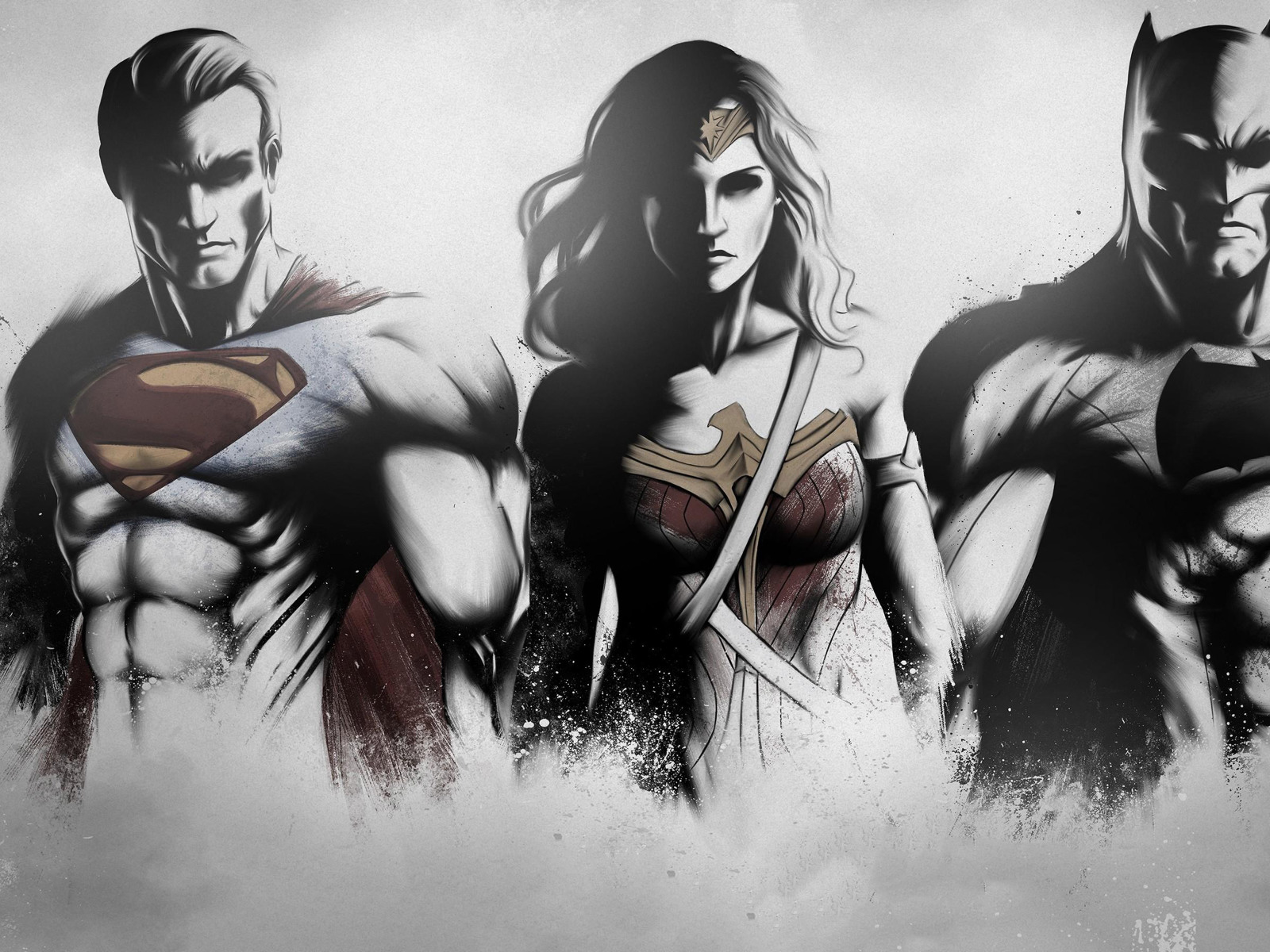 Wonder Woman 4k 8k Wallpapers: Superman Wonder Woman Batman Art Sketch, HD 4K Wallpaper