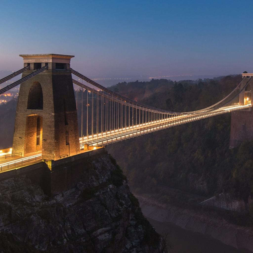 suspension bridge uk england, full hd 2k wallpaper