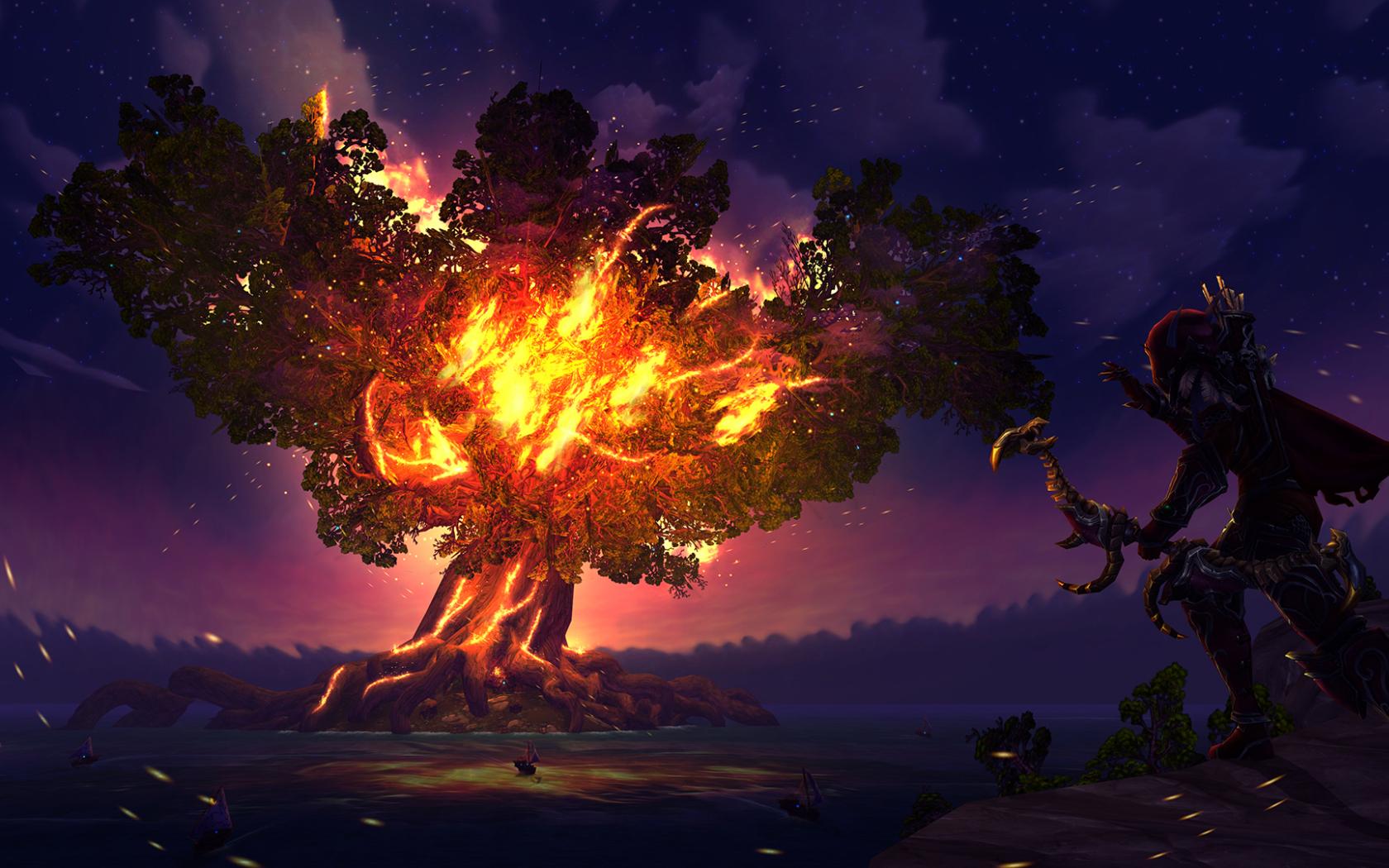 Sylvanas Windrunner Fire Tree World Of Warcraft Full Hd