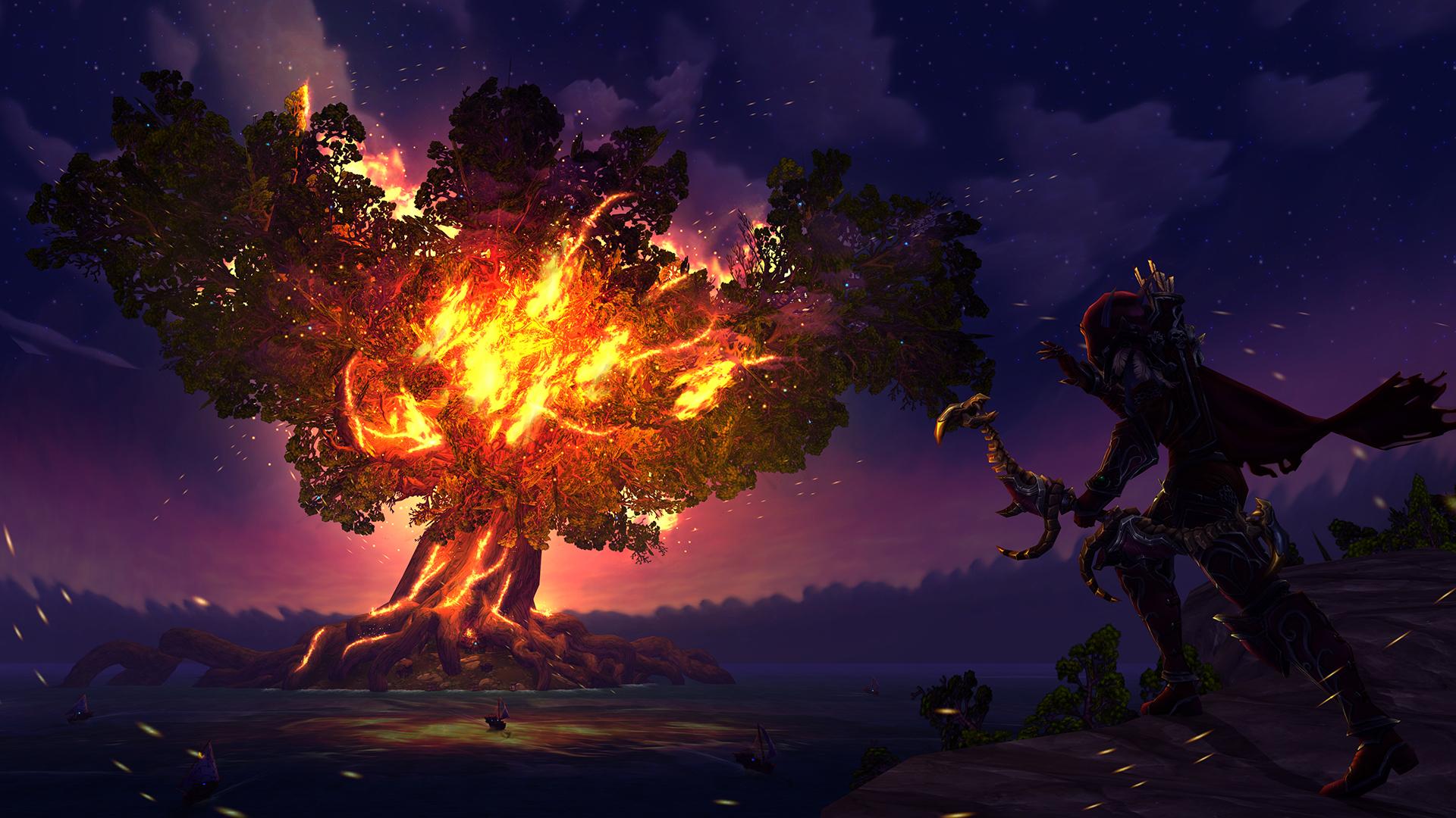 Sylvanas Windrunner Fire Tree World Of Warcraft Wallpaper