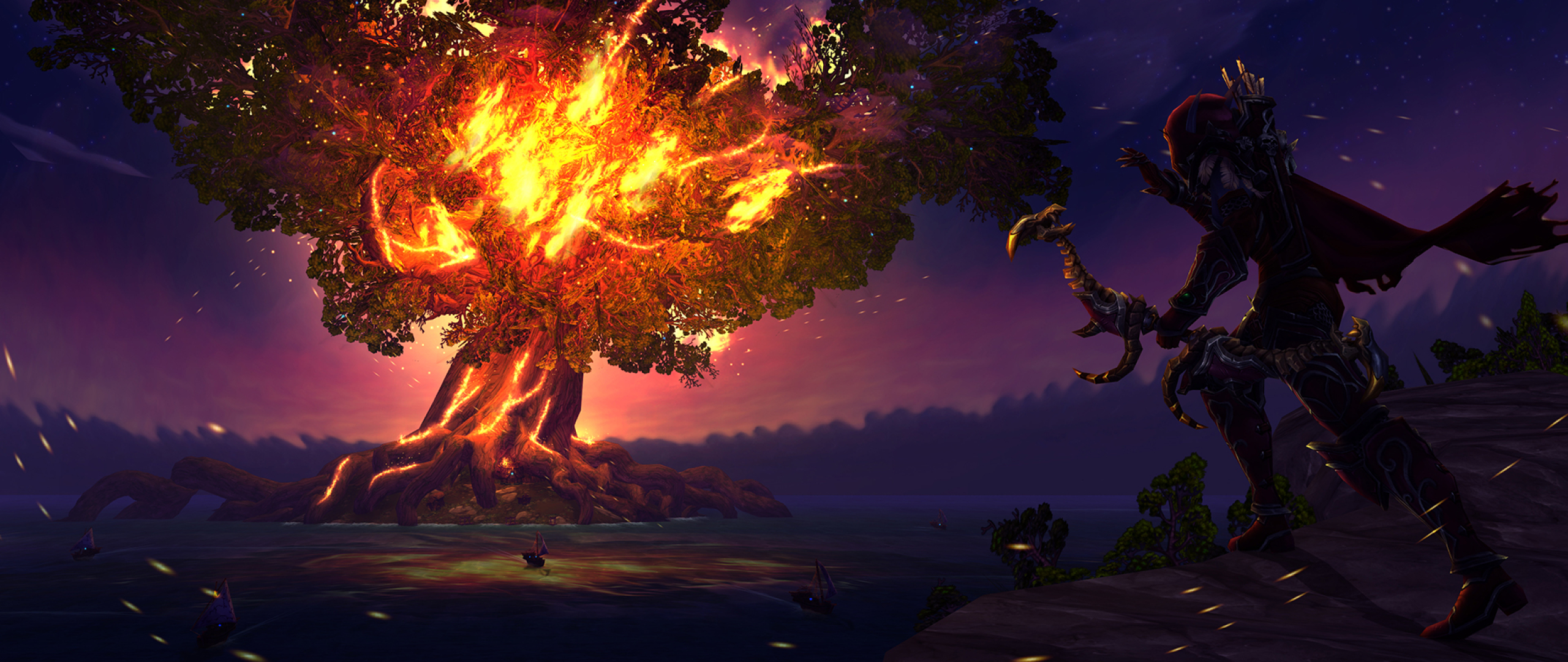 Sylvanas Windrunner Fire Tree World Of Warcraft Full Hd