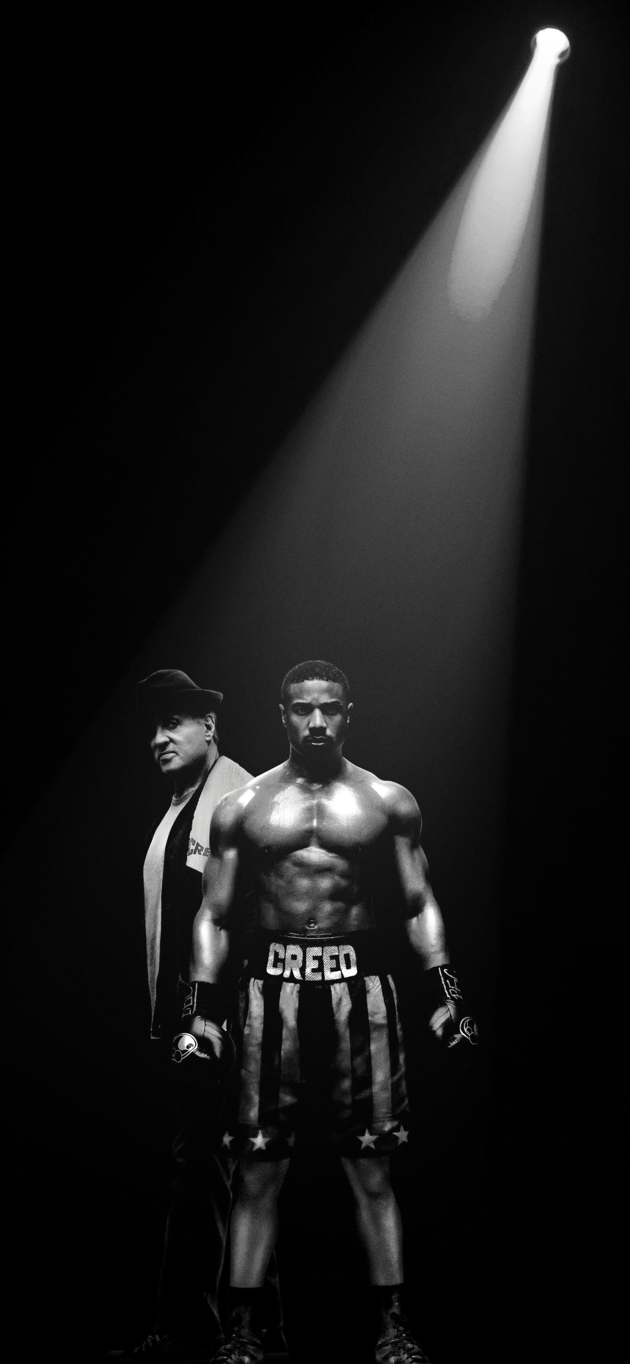 1242x2688 Sylvester Stallone And Michael Jordan In Creed 2 Poster