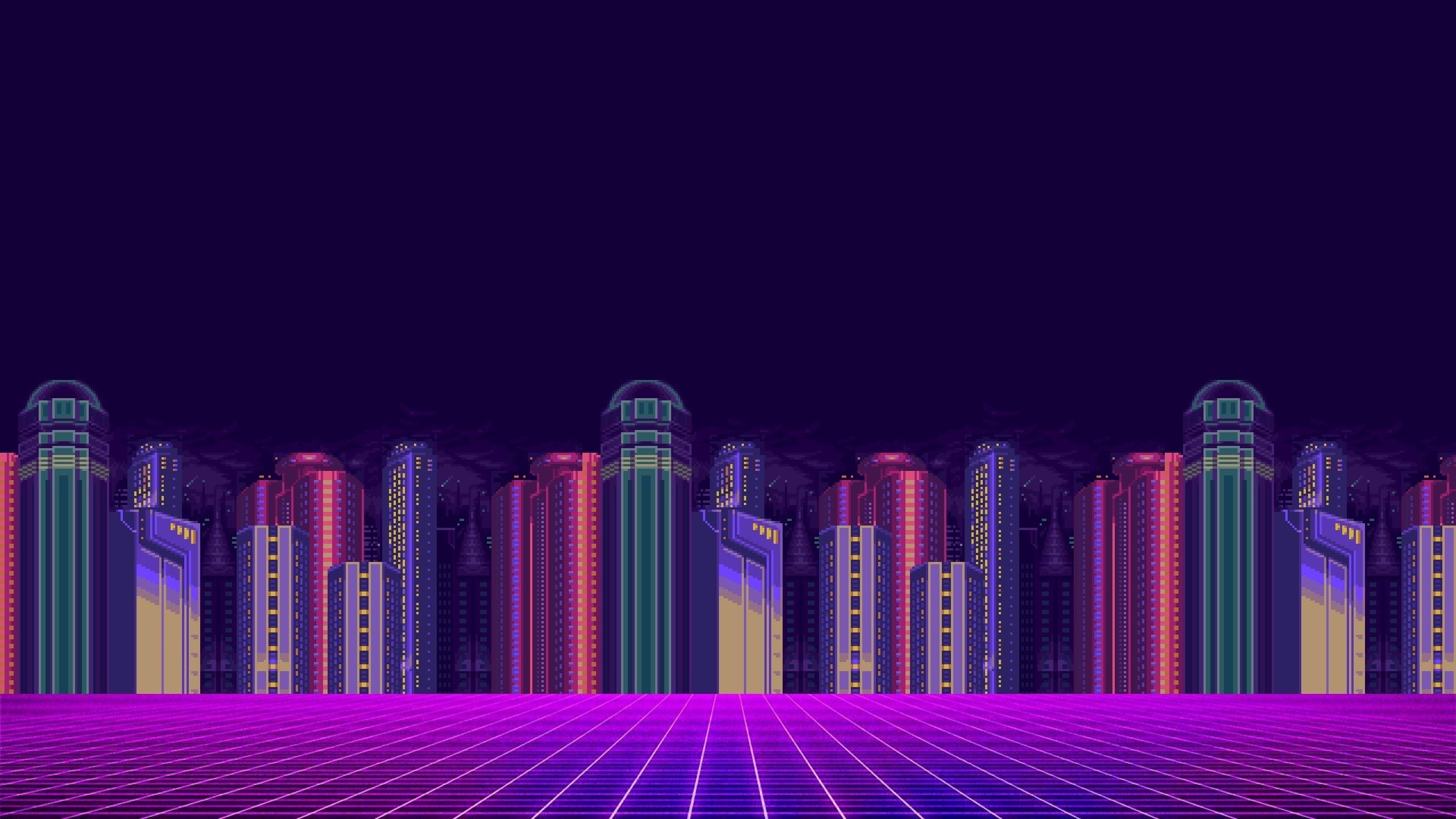 2560x1440 Synthwave 8-bit Pixel Cityscape 1440P Resolution ...