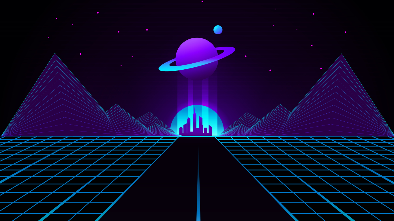 1366x768 Synthwave Planet Retro Wave 1366x768 Resolution Wallpaper Hd Artist 4k Wallpapers Images Photos And Background Wallpapers Den