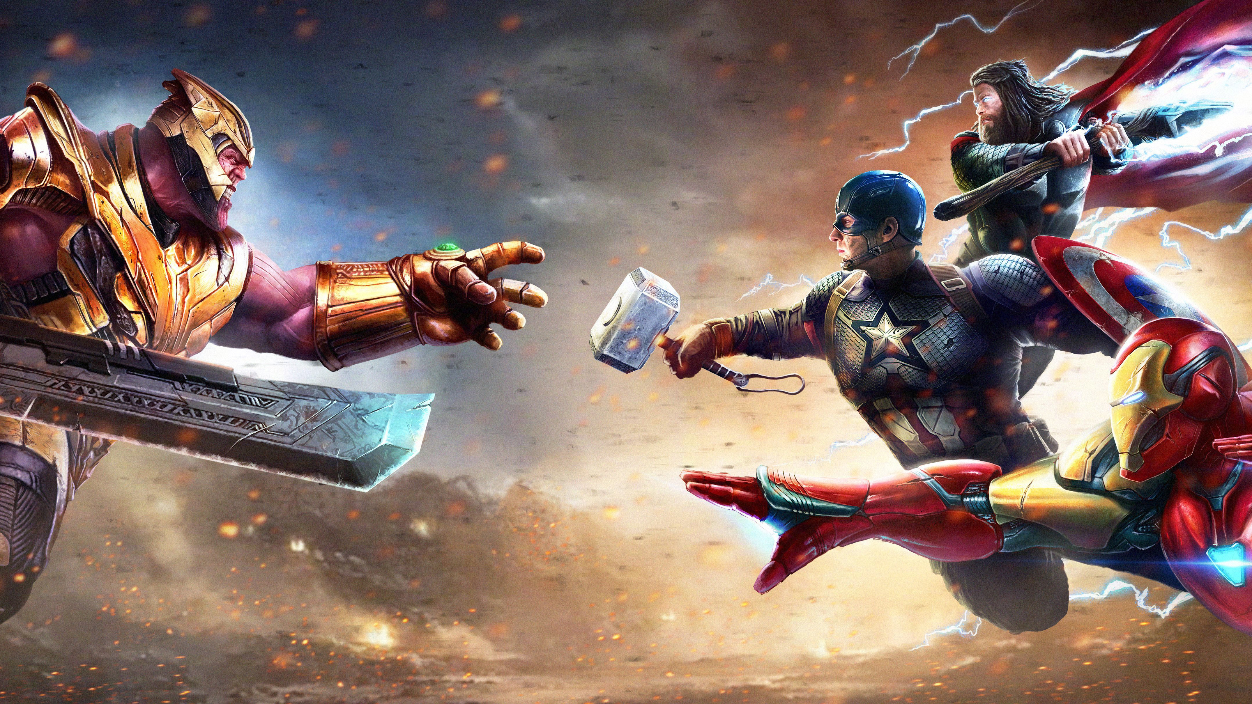 Thanos Against Captain America Iron Man And Thor Wallpaper