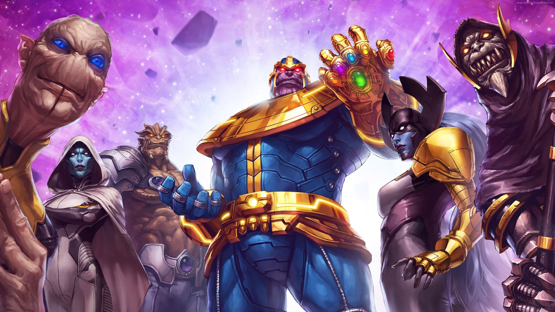 thanos and black order poster marvel contest of champions