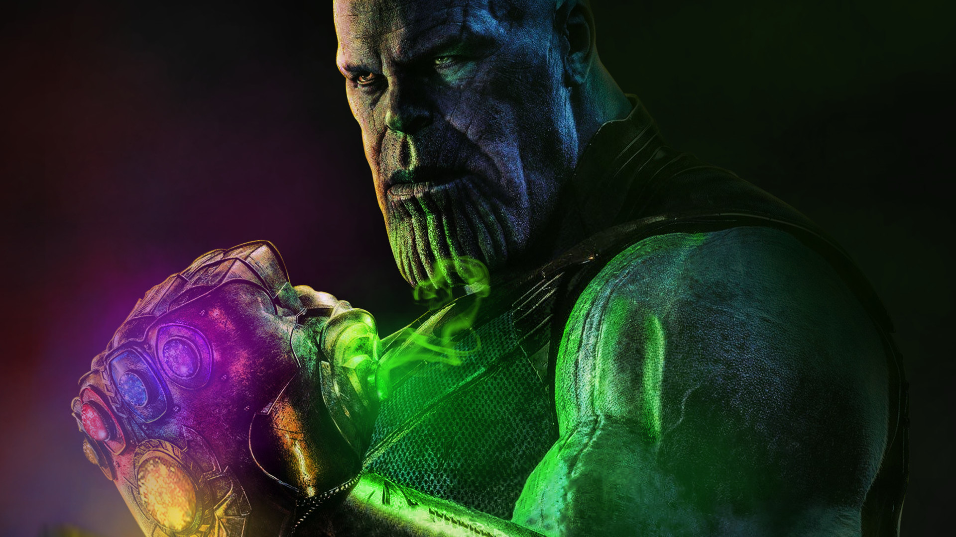 Thanos Artwork With Infinity Stone, Full HD Wallpaper