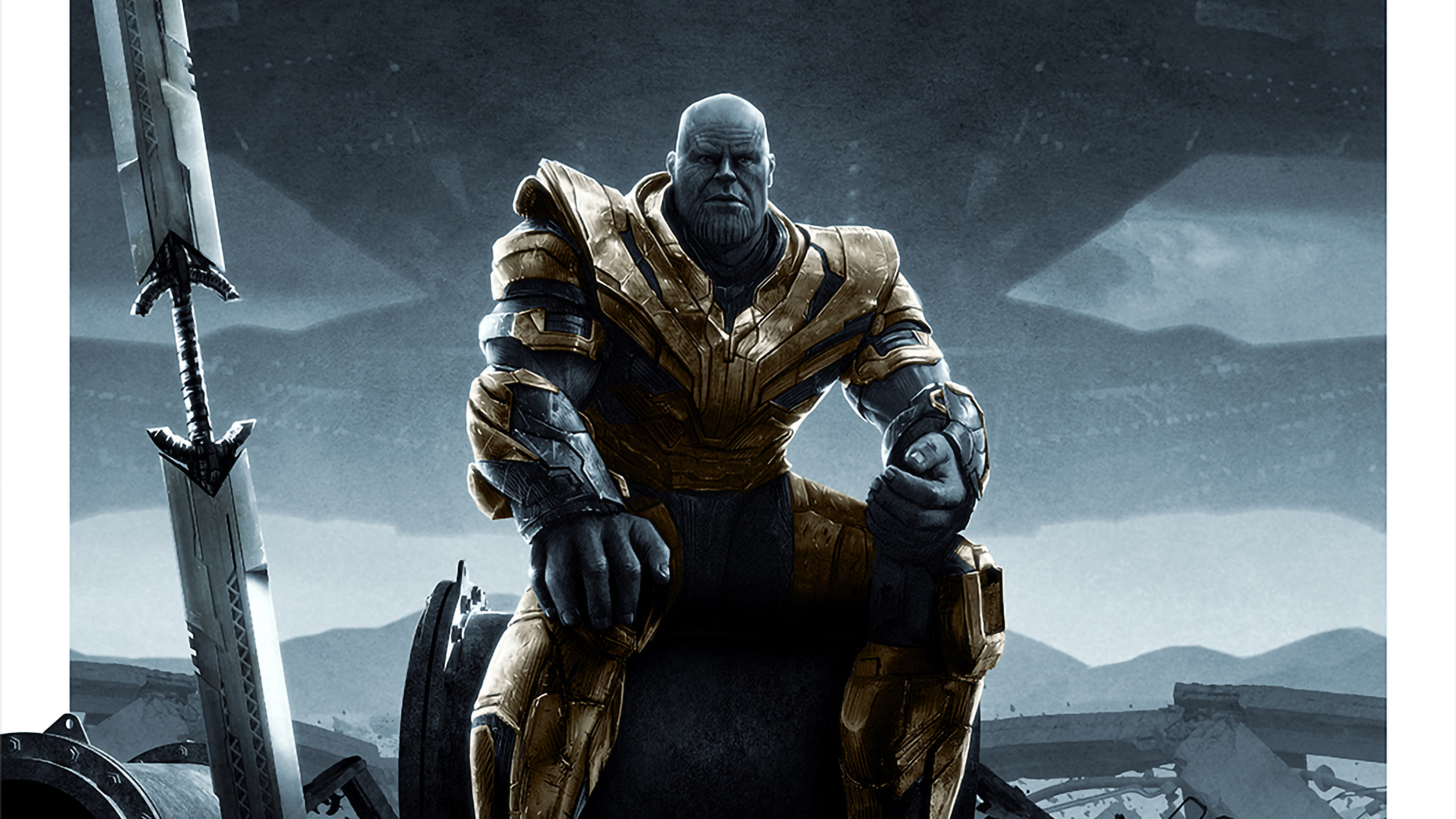 3840x2160 Thanos Sitting In Avengers Endgame 4k Wallpaper