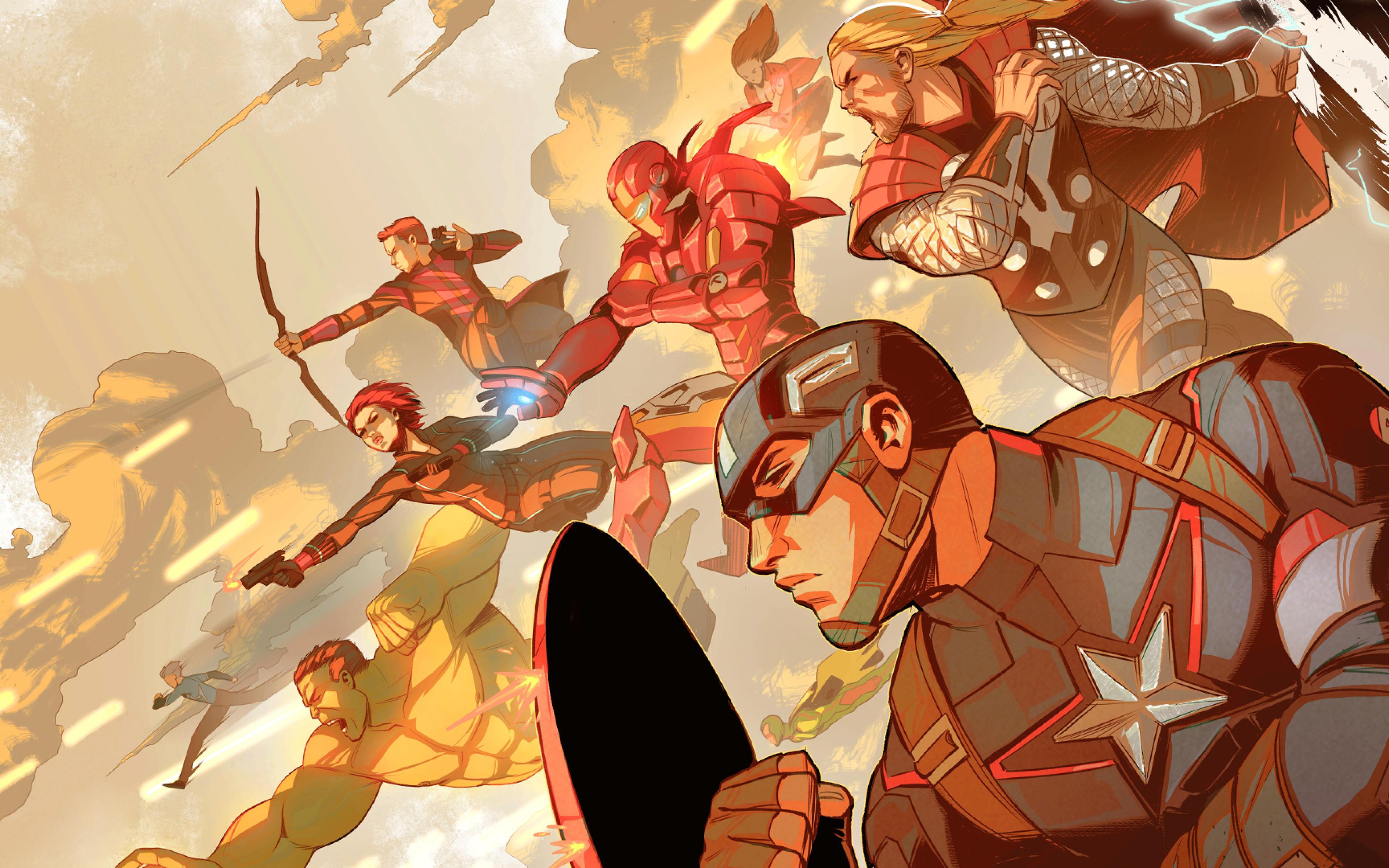 10 New Avengers Infinity War Desktop Wallpaper Full Hd: The Avengers Art Captain America, Iron Man, Thor, Black