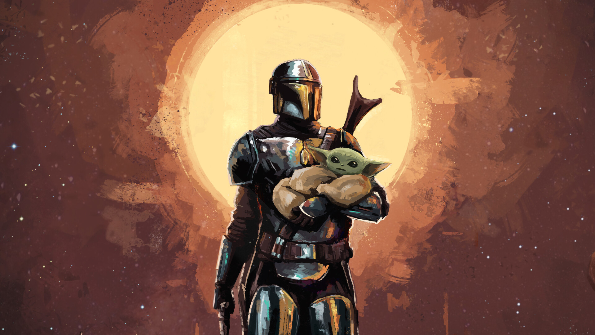 1920x1080 The Mandalorian And Baby Yoda Art 1080p Laptop Full Hd Wallpaper Hd Tv Series 4k Wallpapers Images Photos And Background