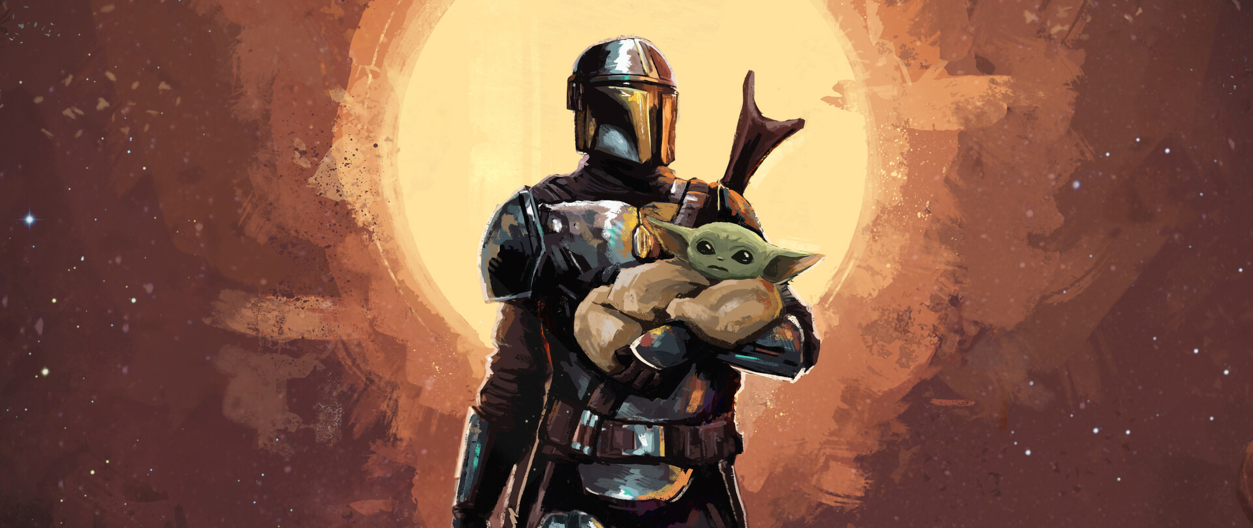 2560x1080 The Mandalorian And Baby Yoda Art 2560x1080 Resolution