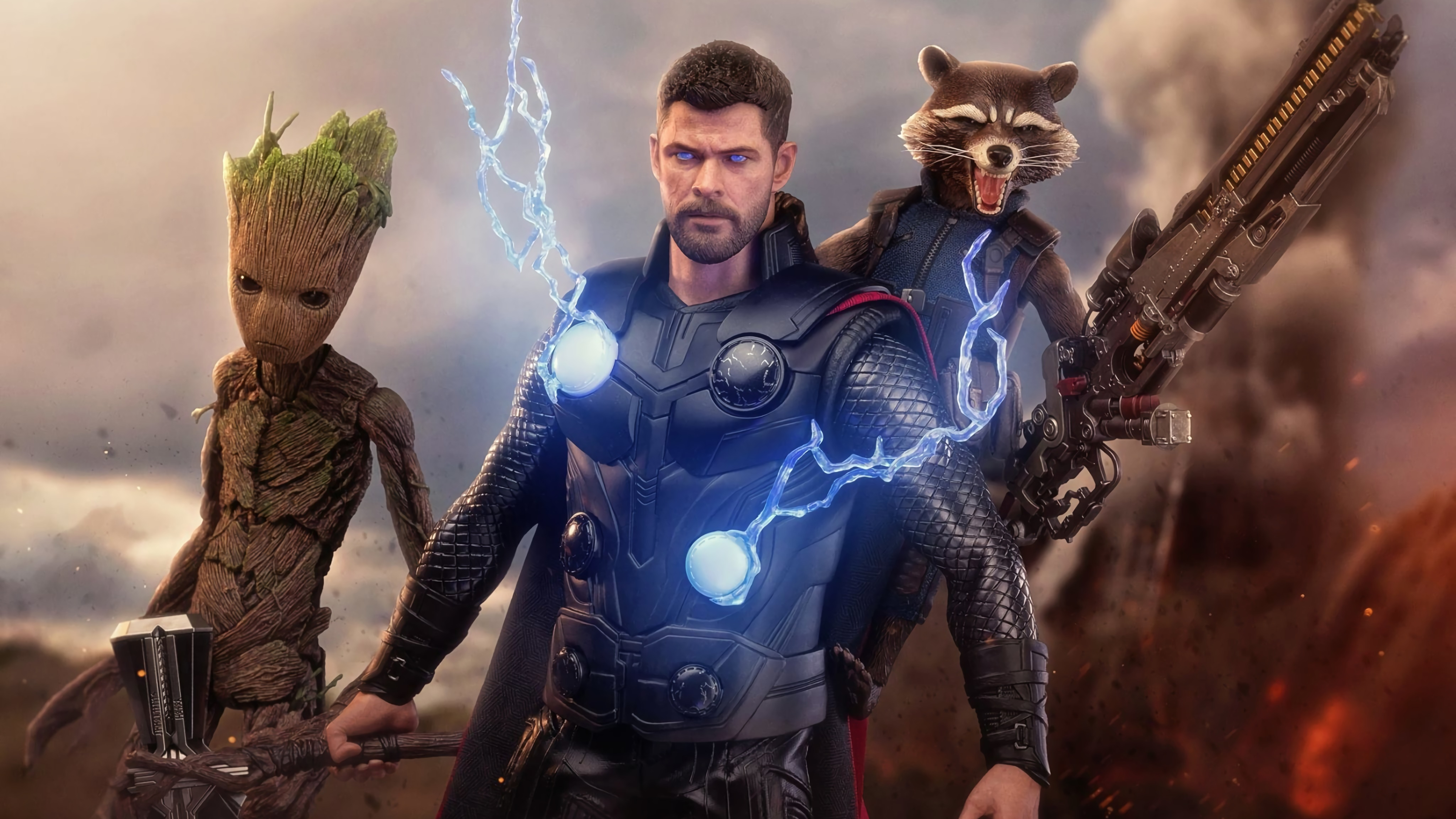 7680x4320 Thor Groot And Rocket 8k Wallpaper Hd Superheroes 4k Wallpapers Images Photos And Background