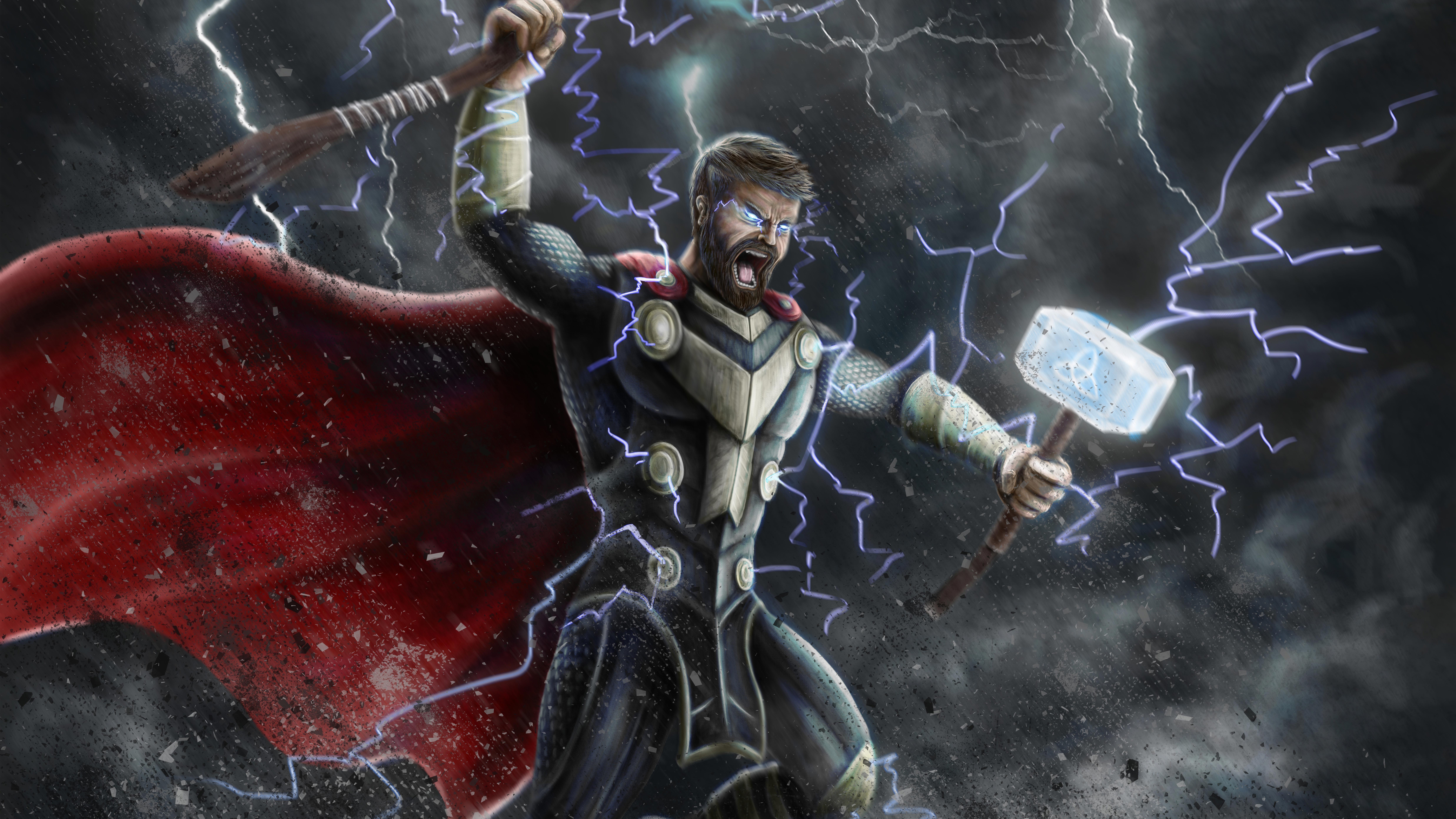 Thor MCU Artwork Wallpaper, HD Superheroes 4K Wallpapers ...