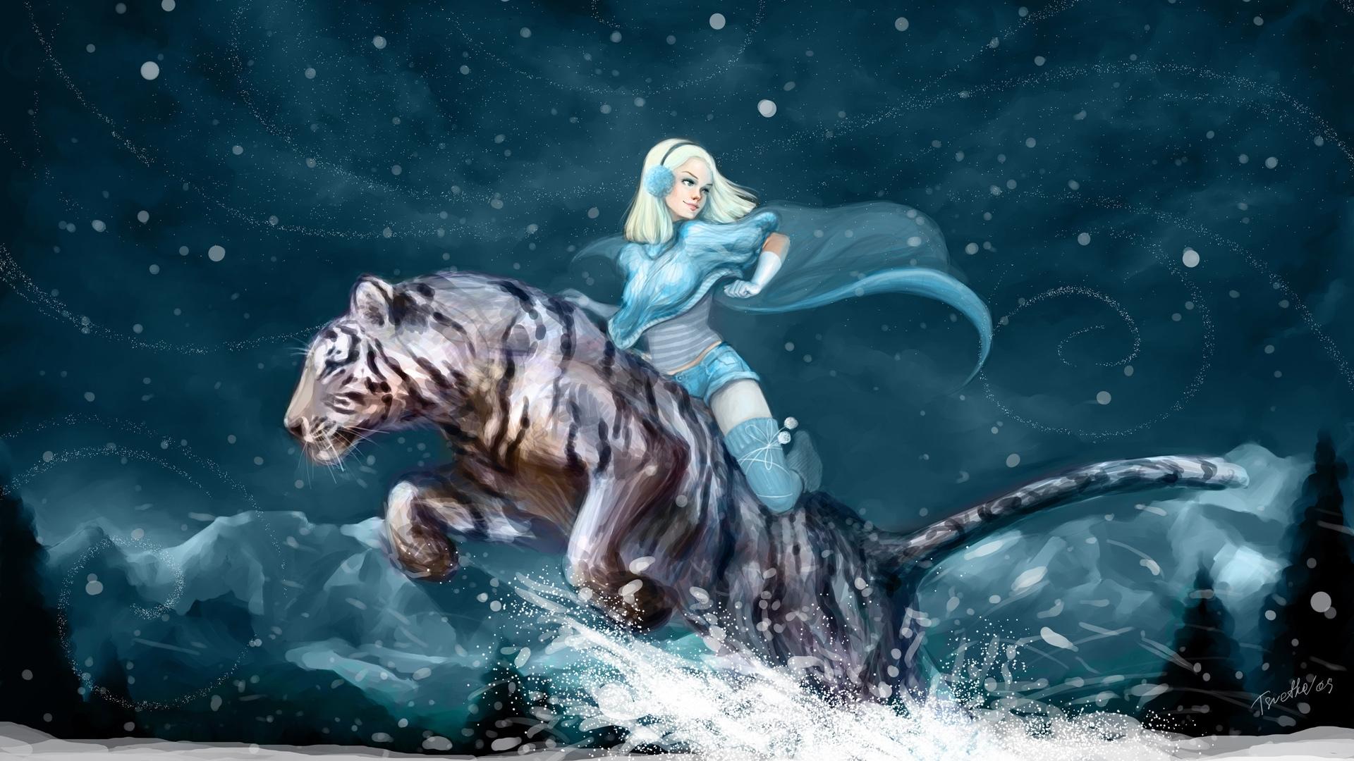 животные девушка тигр фэнтези скачать