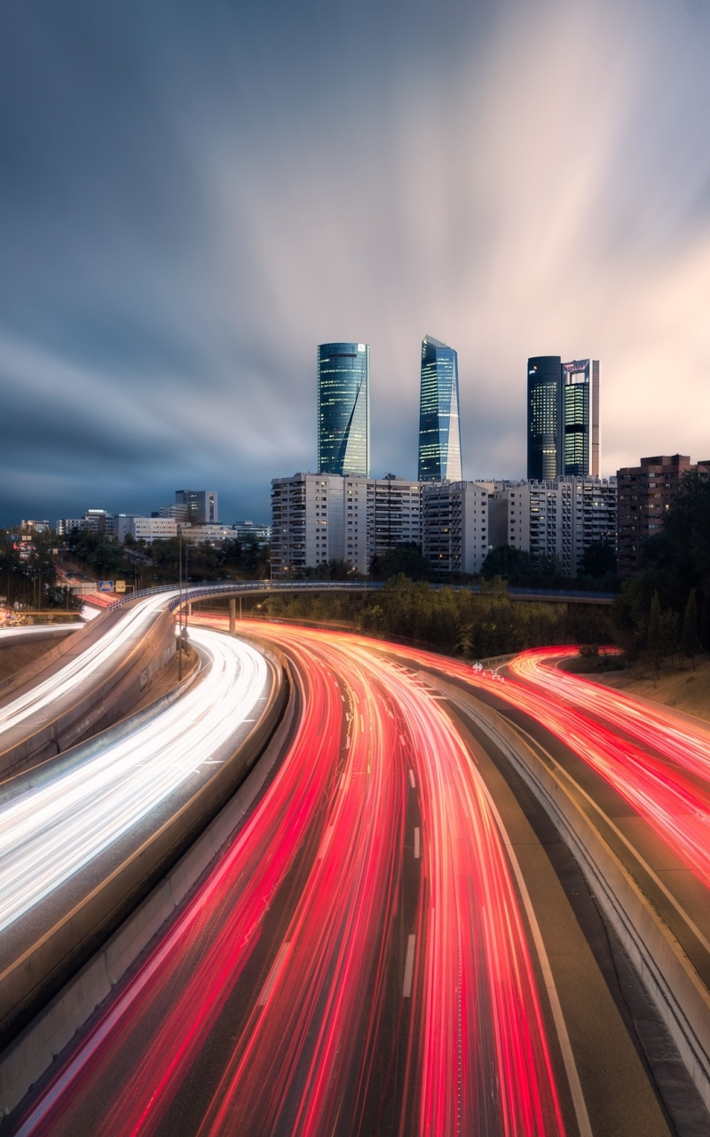 Time-lapse Madrid Highway Wallpaper in 800x1280 Resolution
