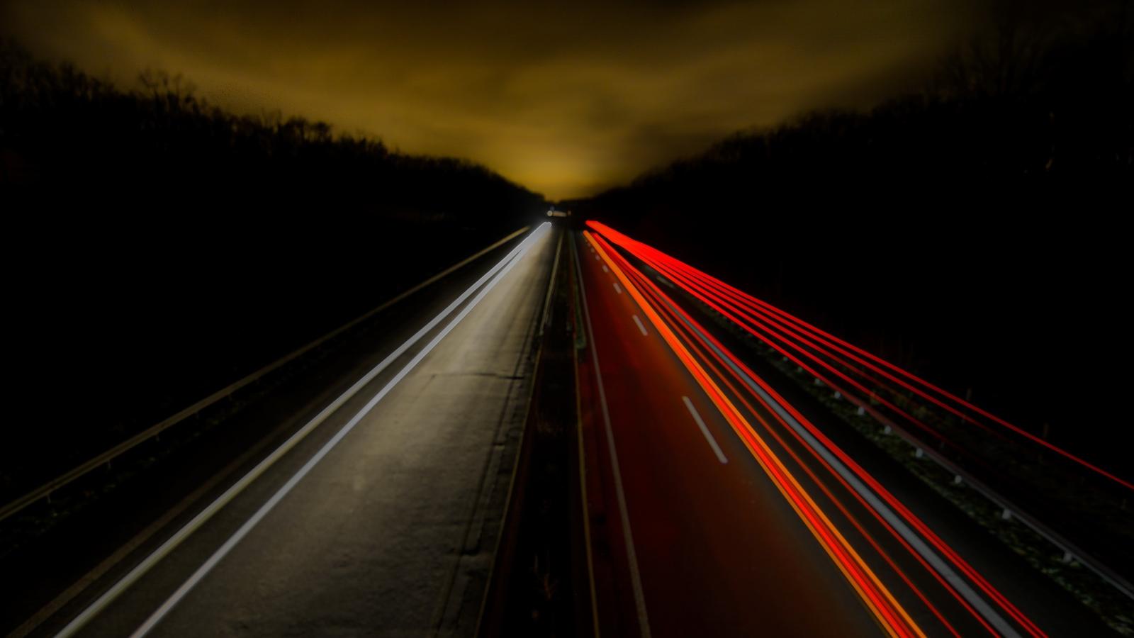 Time-lapse Night Road, Full HD 2K Wallpaper
