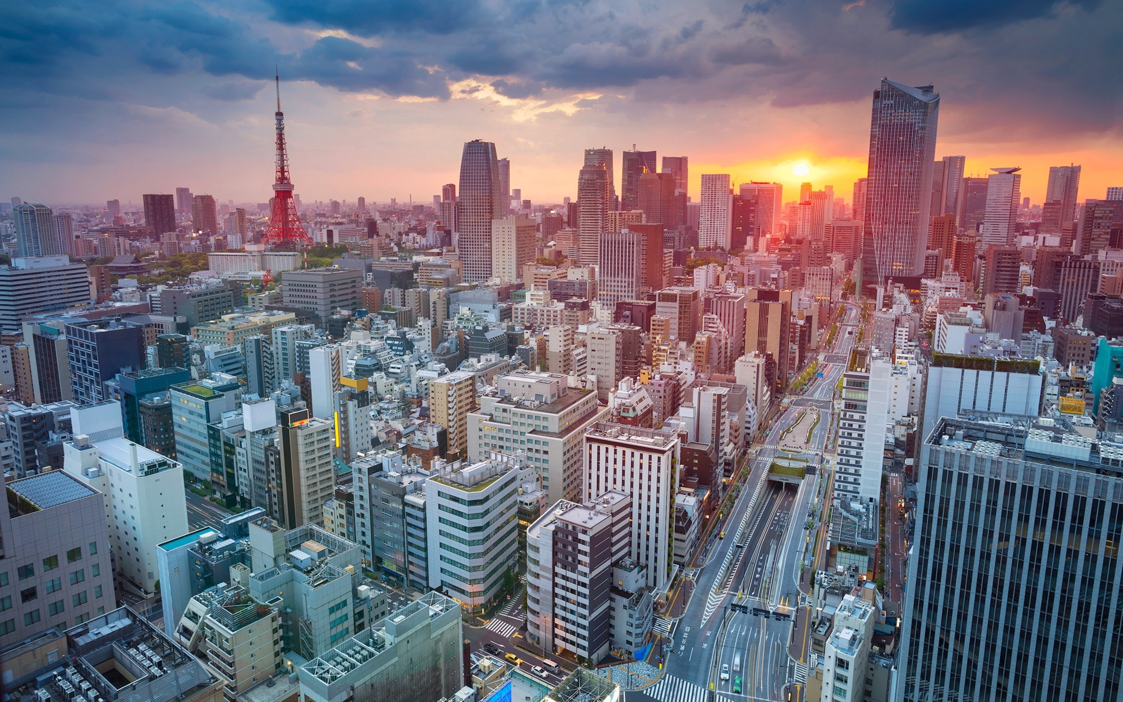 Tokyo skycrapper building sunset cityscape full hd 2k wallpaper - 1366x768 is 720p or 1080p ...