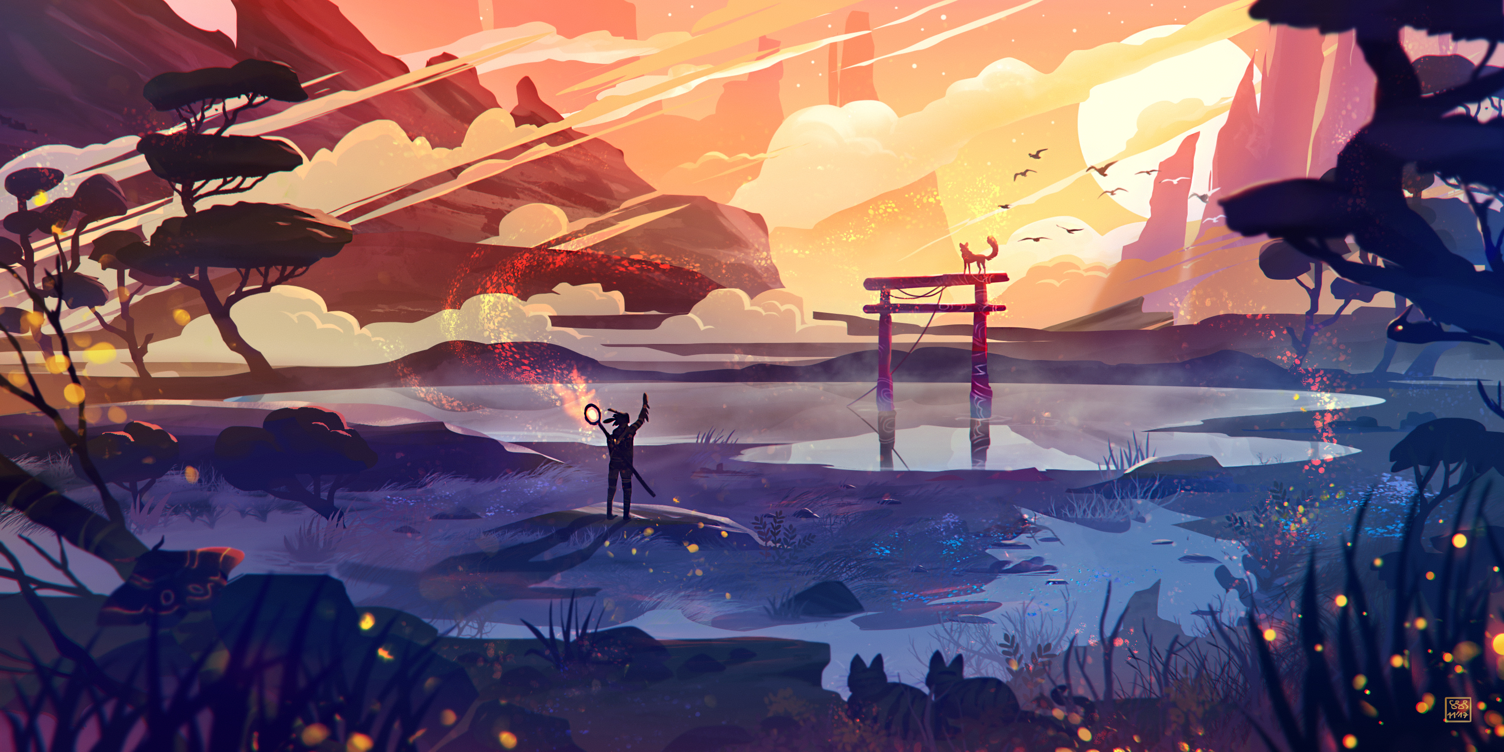 1280x1024 Torii Gate Paint Art 1280x1024 Resolution Wallpaper Hd