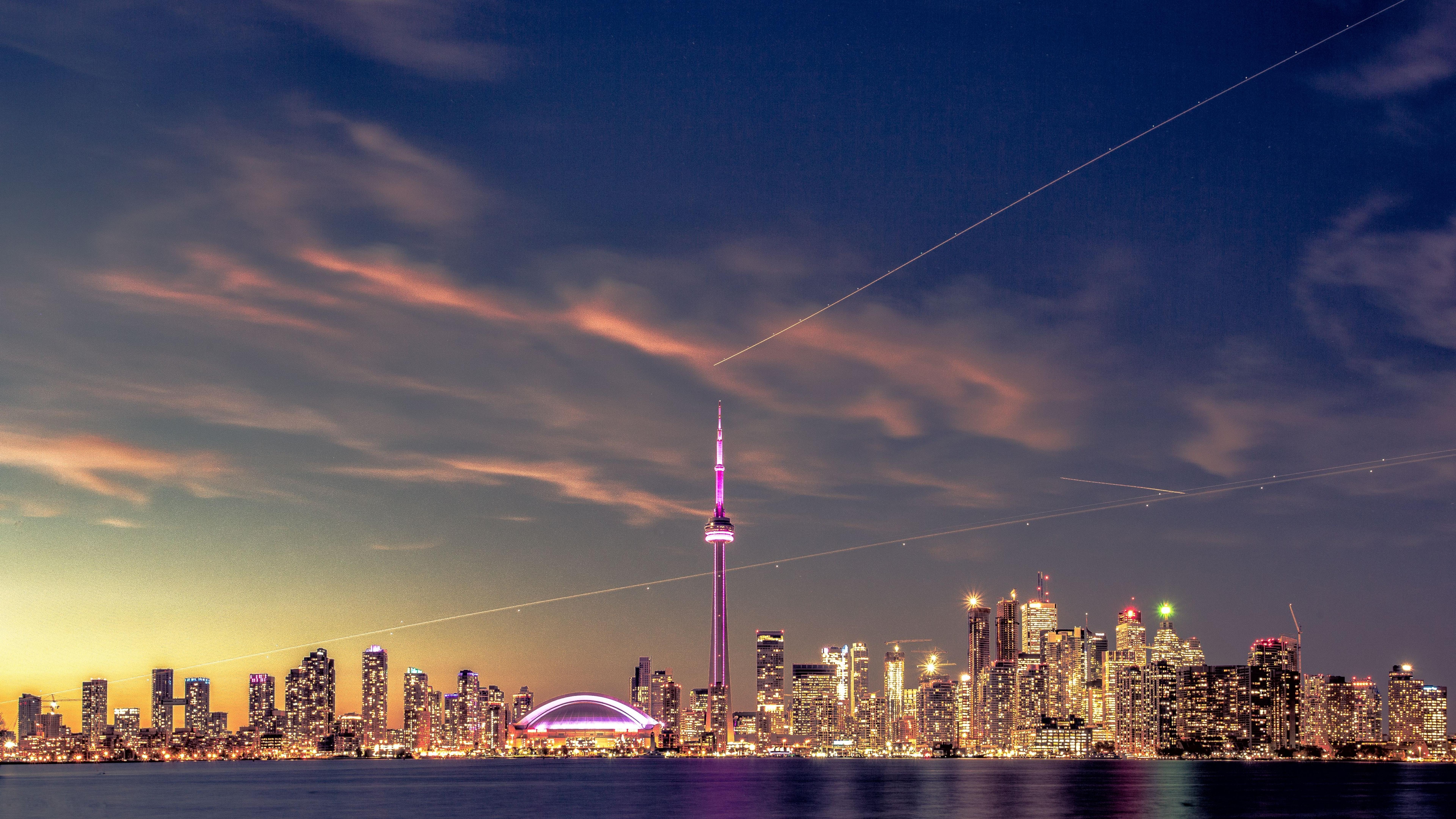 Toronto Ontario Cityscape In Sunset  Hd 4k Wallpaper