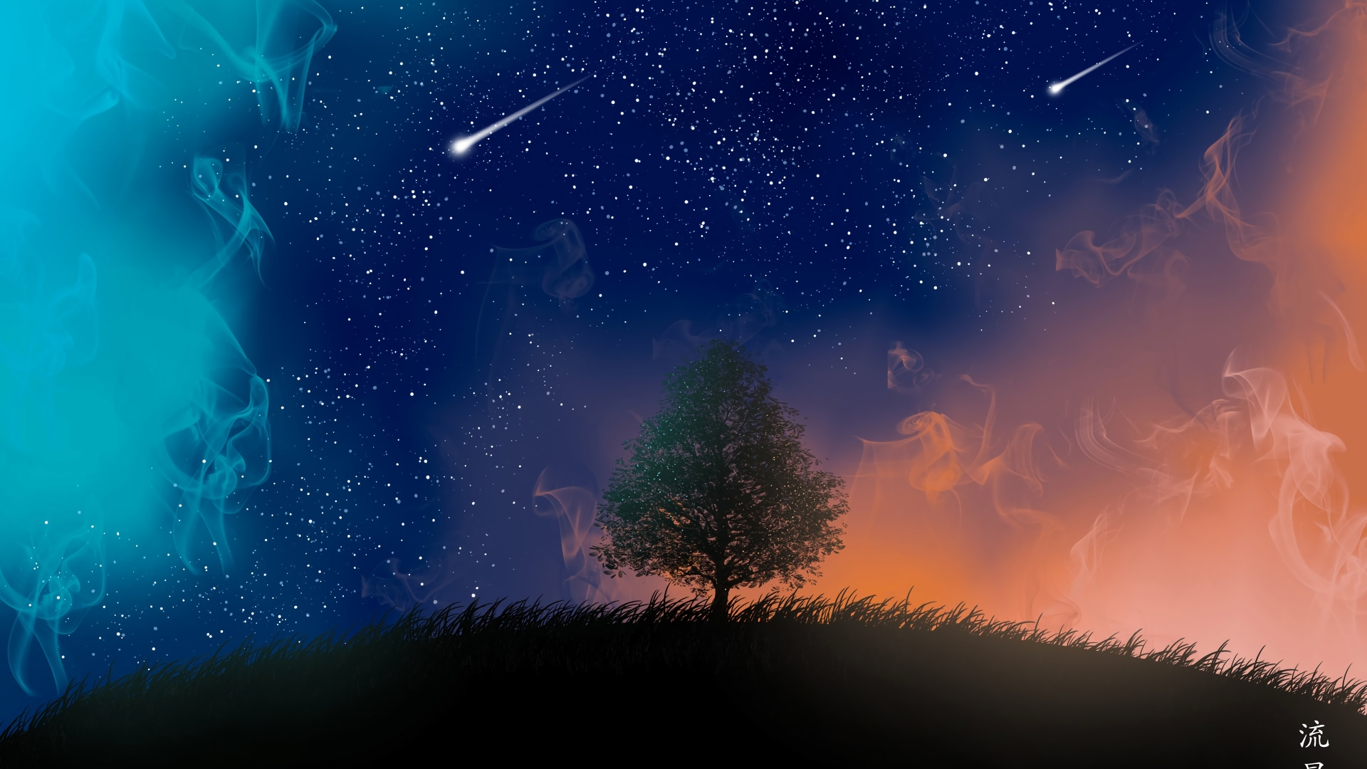 1920x1080 Tree And Shooting Stars 4k 1080p Laptop Full Hd Wallpaper Hd Artist 4k Wallpapers Images Photos And Background