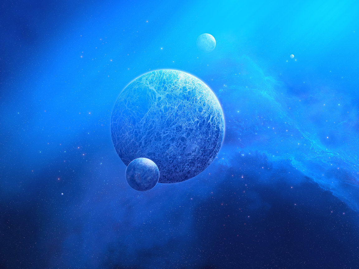 Two Planets Meeting Digital Art Wallpaper in 1152x864 Resolution