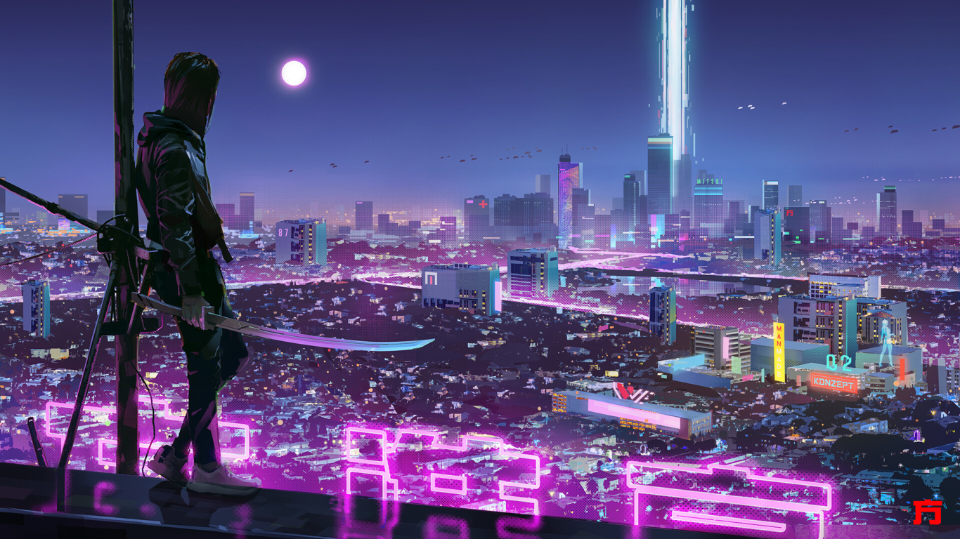 1366x768 Warrior Girl in Cyberpunk City 1366x768 ...