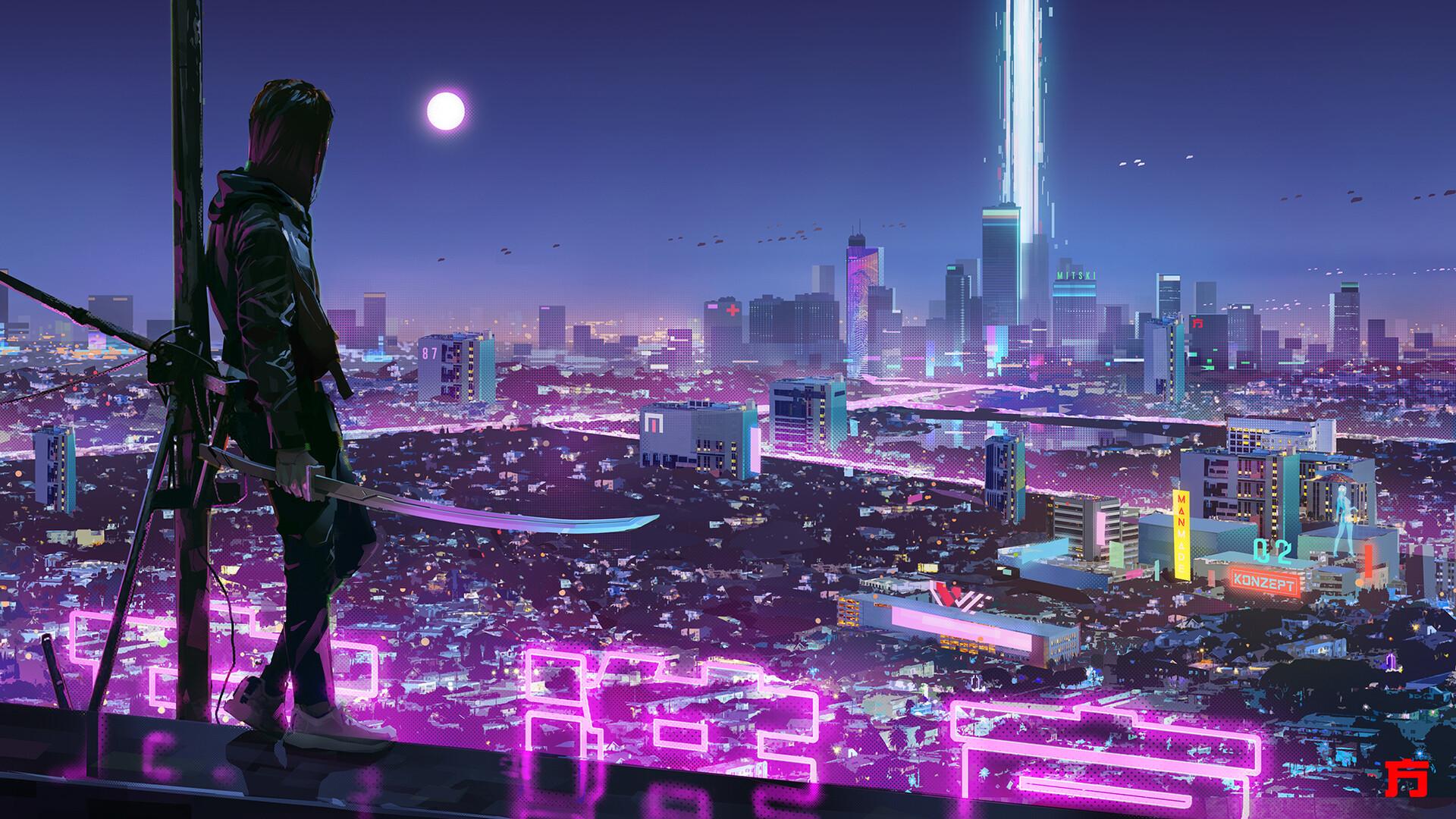 Warrior Girl in Cyberpunk City Wallpaper, HD Artist 4K ...
