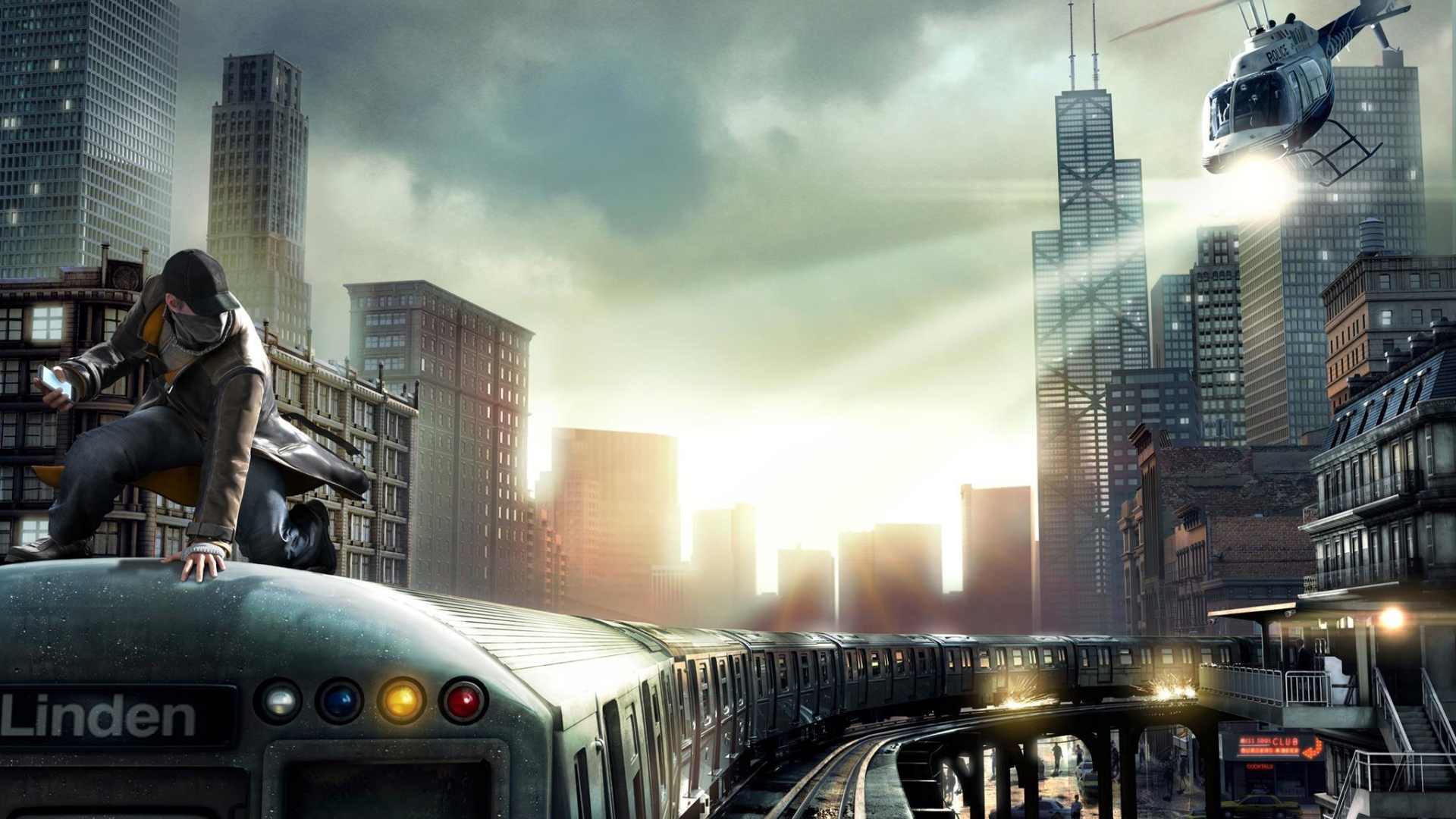 1920x1080 Watch Dogs Aiden Pearce Chicago Train 1080p Laptop