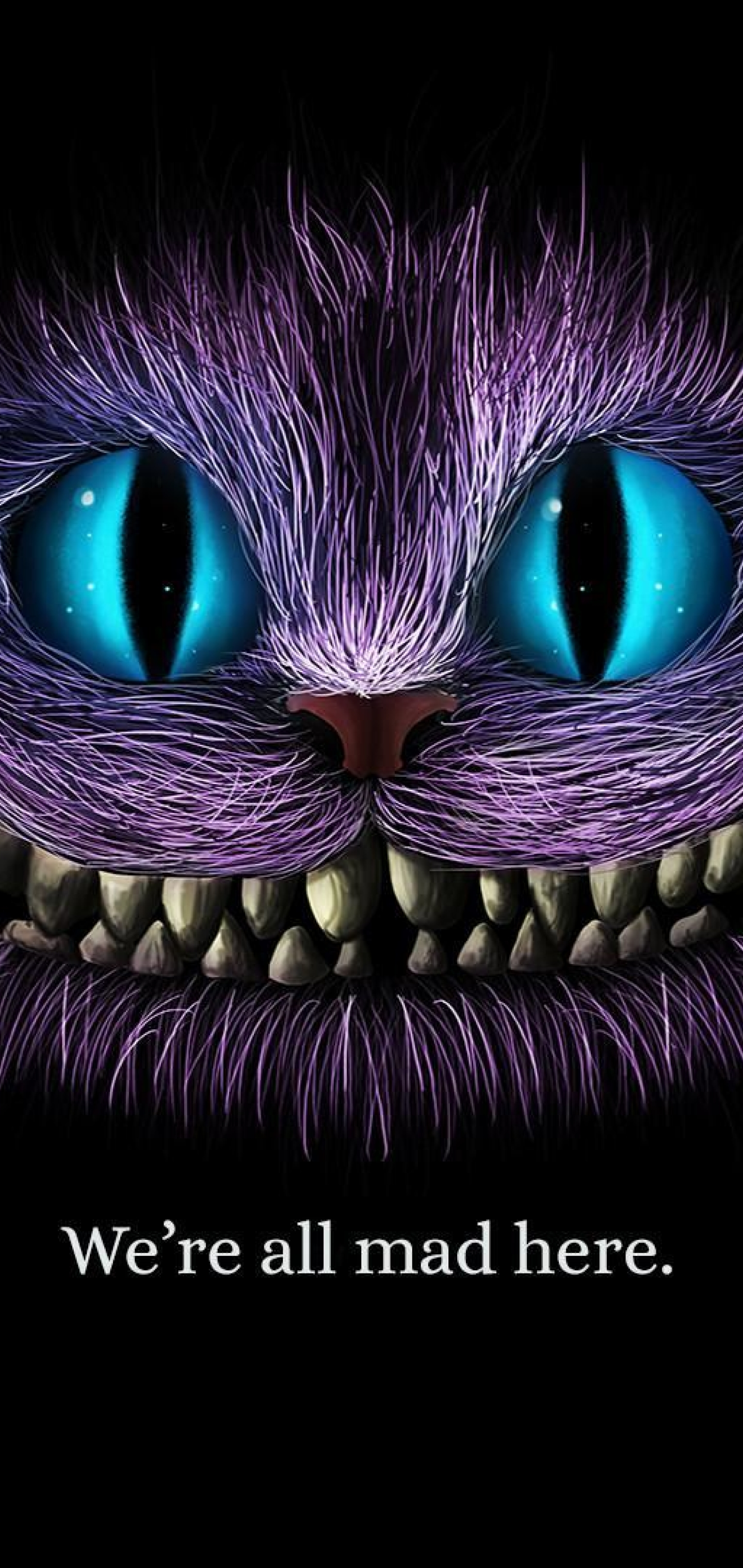1440x3040 We Are All Mad Here Cheshire Cat 1440x3040 Resolution