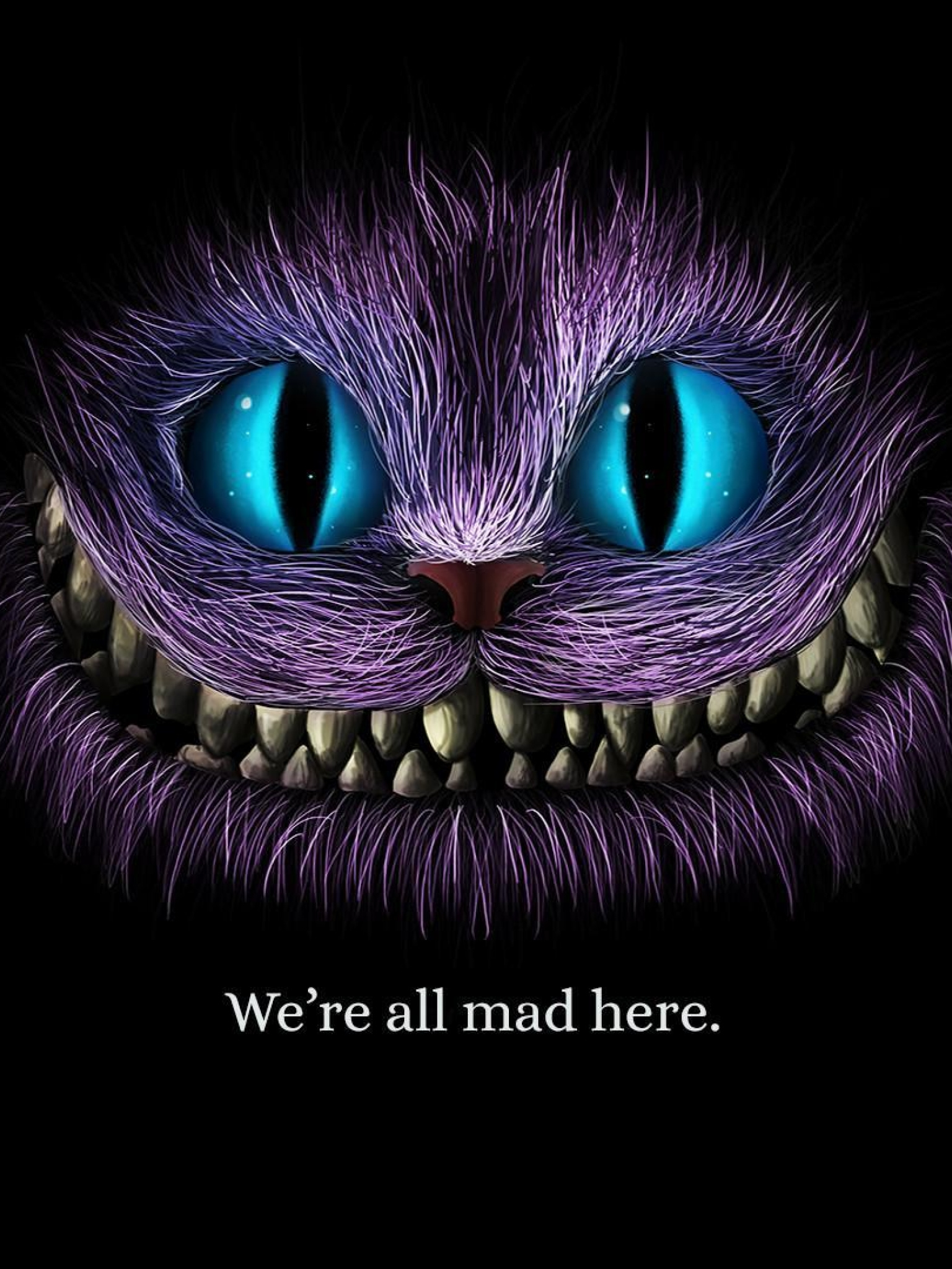 1536x2048 We Are All Mad Here Cheshire Cat 1536x2048 Resolution