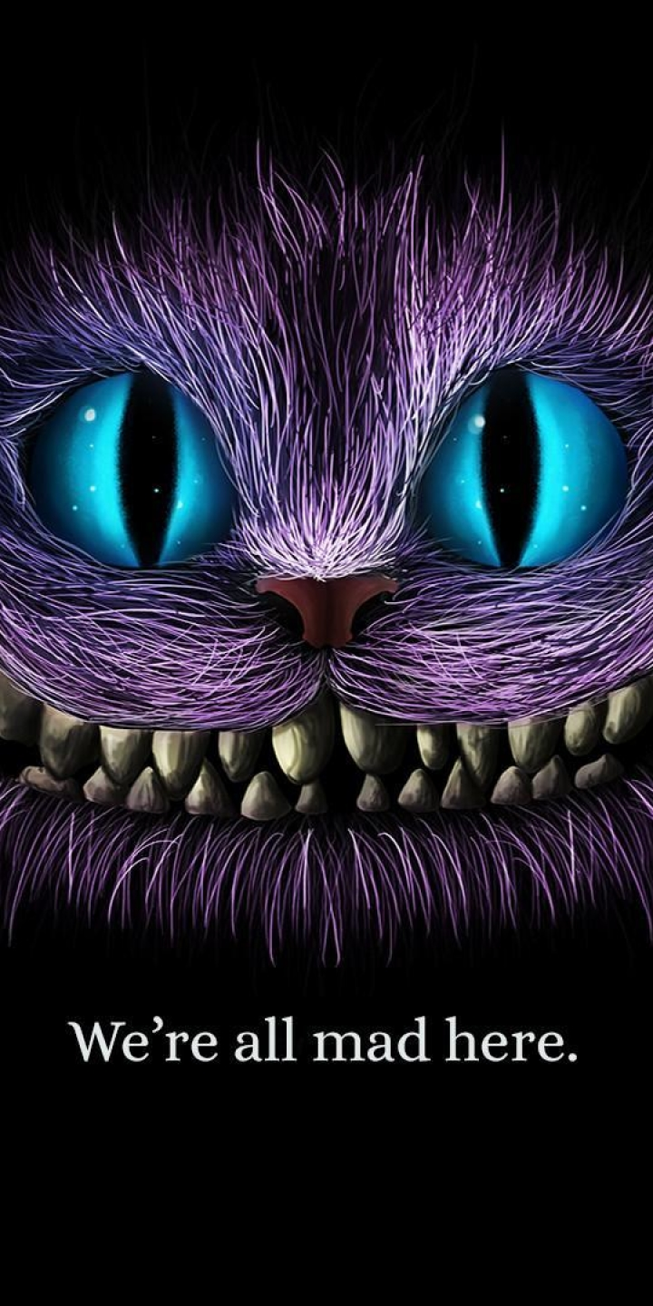 720x1440 We Are All Mad Here Cheshire Cat 720x1440 Resolution