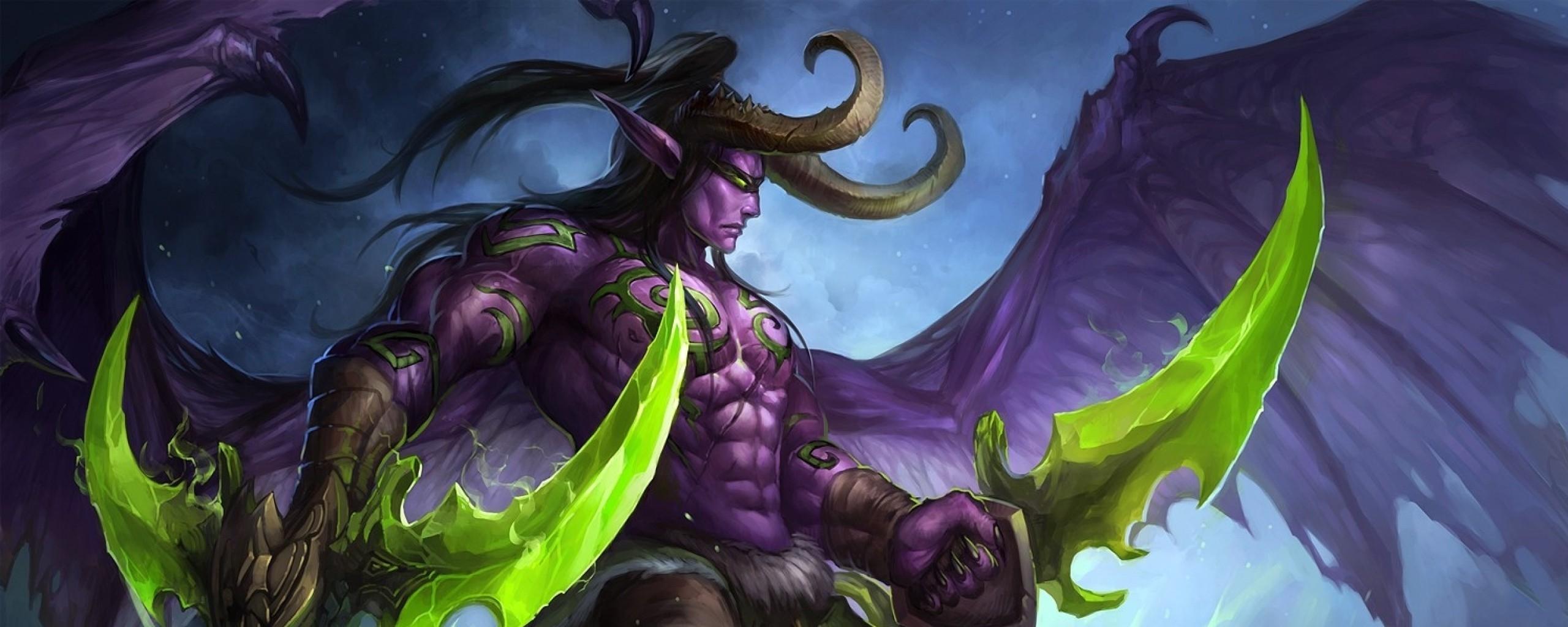 2560x1024 World Of Warcraft Illidan Stormrage Art 2560x1024