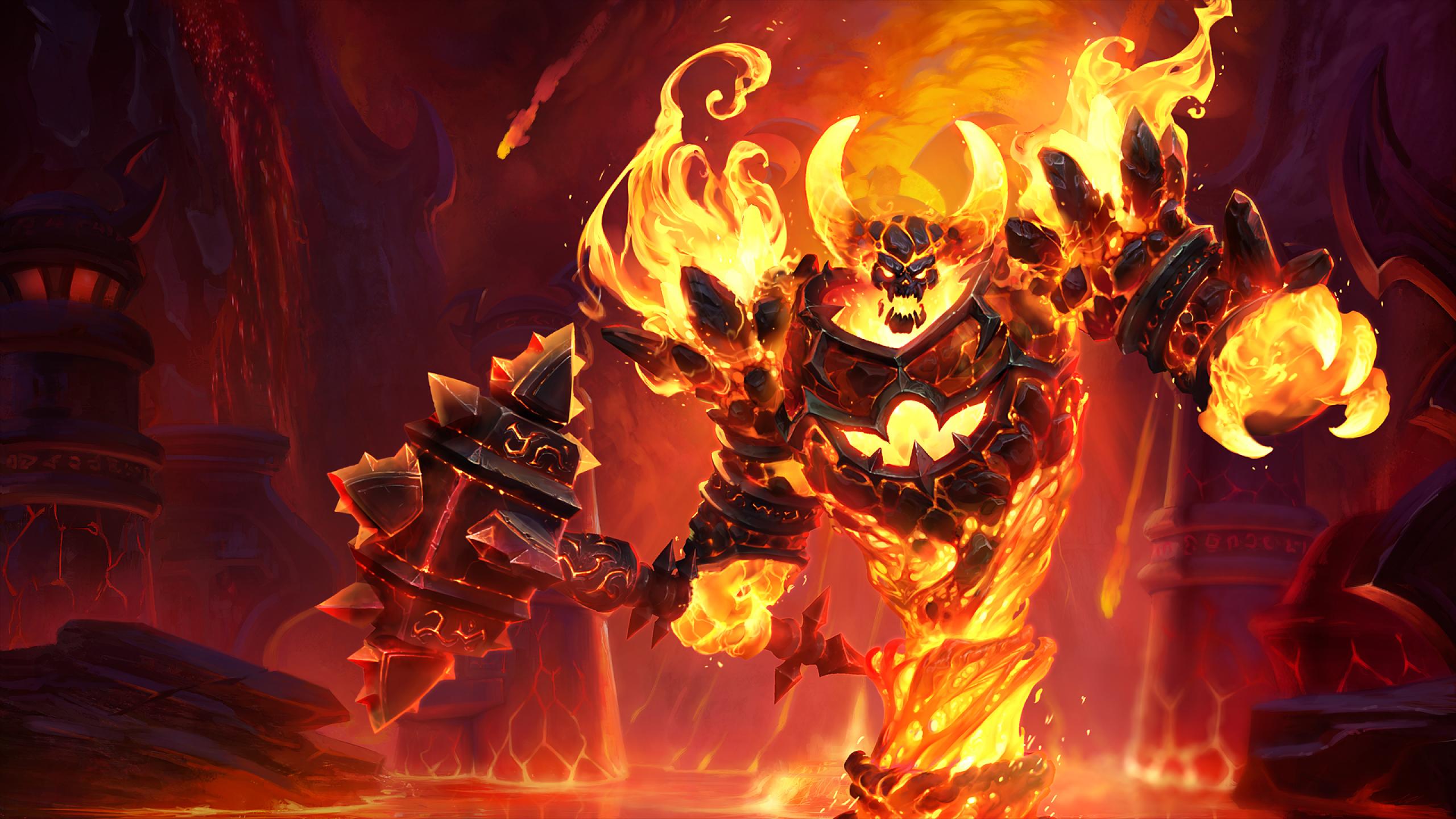 2560x1440 World of Warcraft Ragnaros Fire Art 1440P