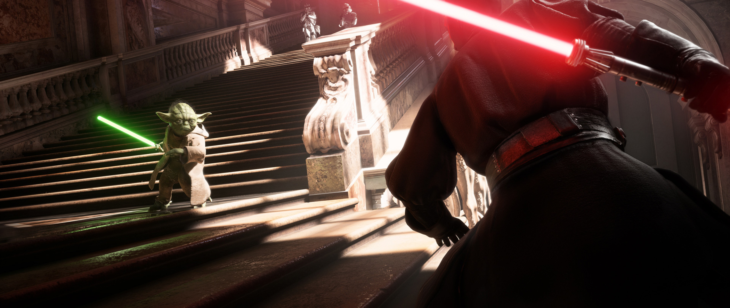 2560x1080 Yoda Vs Darth Vader Star Wars Battlefront 2 2560x1080 Resolution Wallpaper Hd Games 4k Wallpapers Images Photos And Background