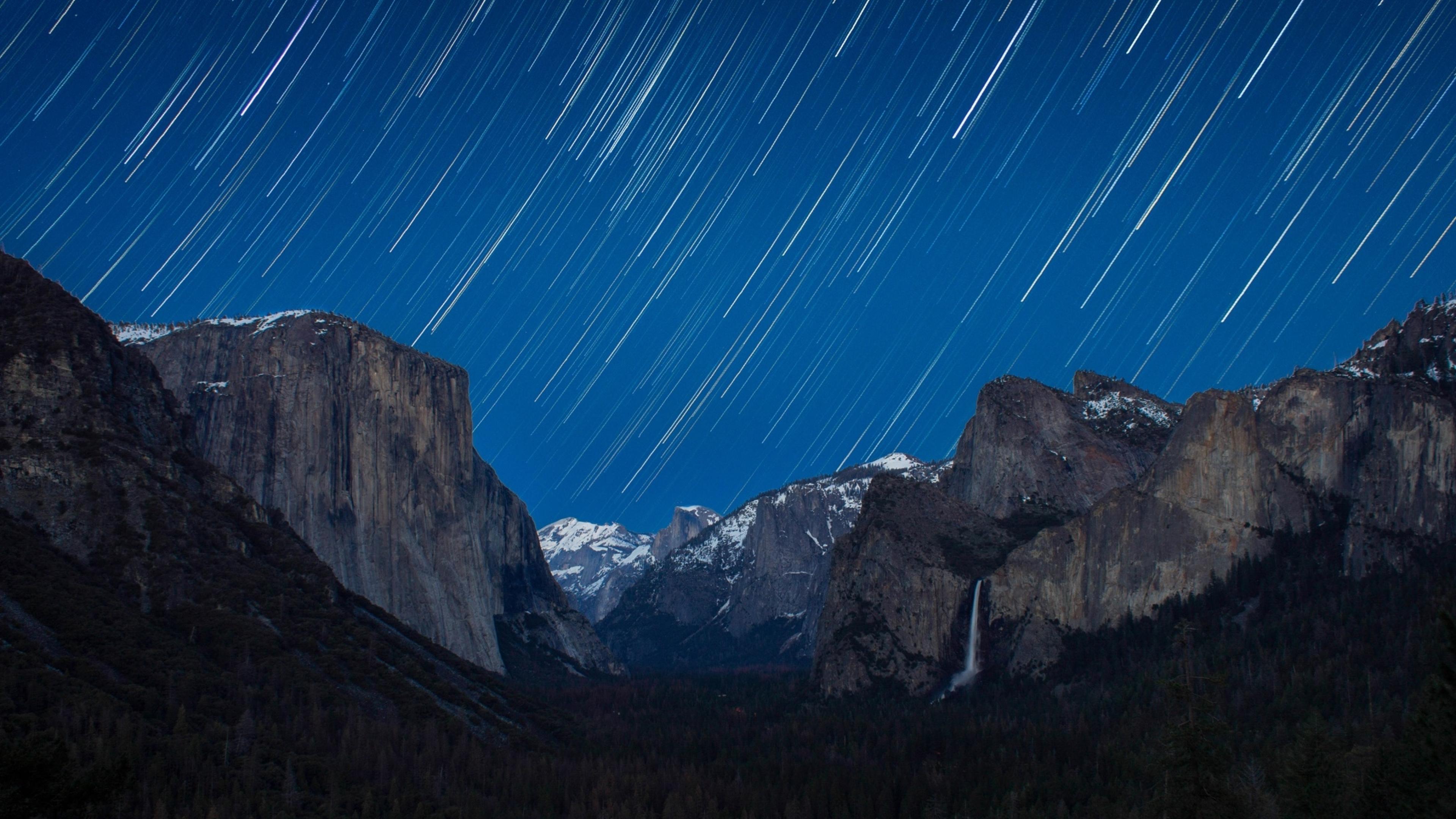3840x2160 Yosemite National Park Star Trail 4k Wallpaper Hd