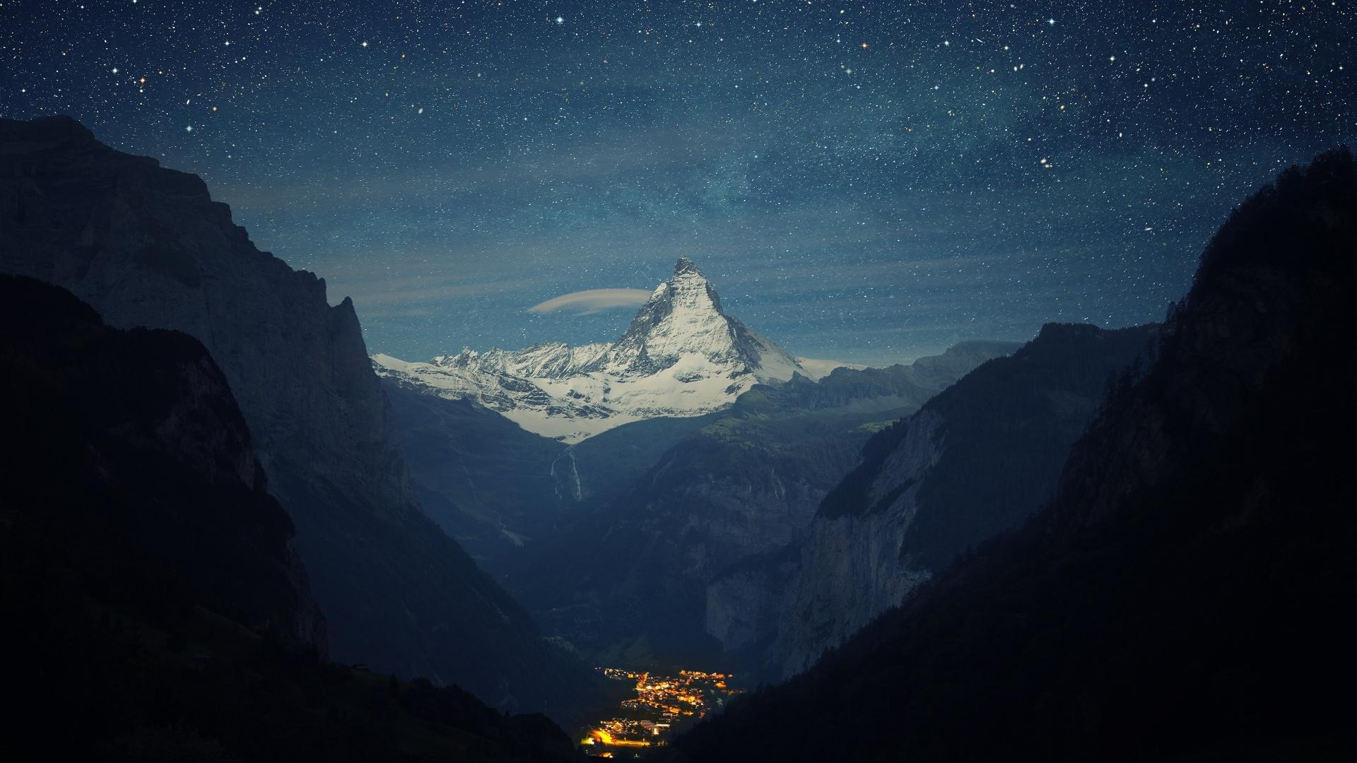 Zermatt-Matterhorn Aerial View at Night Wallpaper in 1920x1080 Resolution