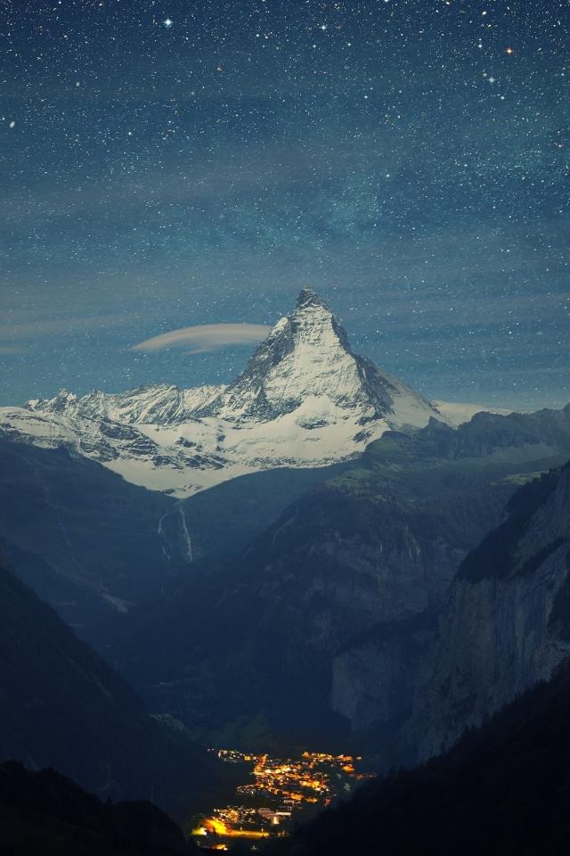 Zermatt-Matterhorn Aerial View at Night Wallpaper in 640x960 Resolution