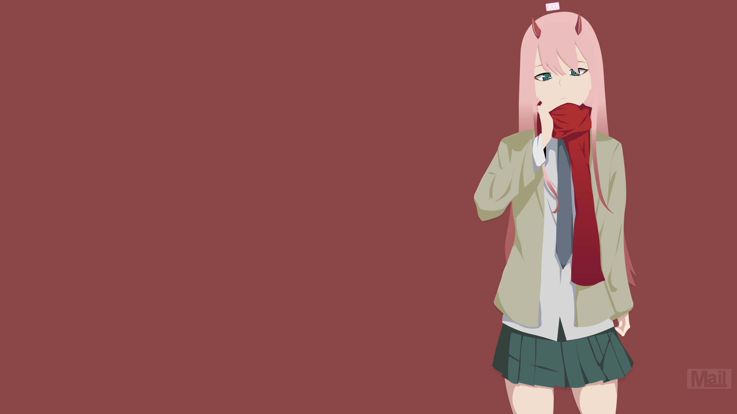 2560x1440 Zero Two Minimalist 1440p Resolution Wallpaper Hd Anime