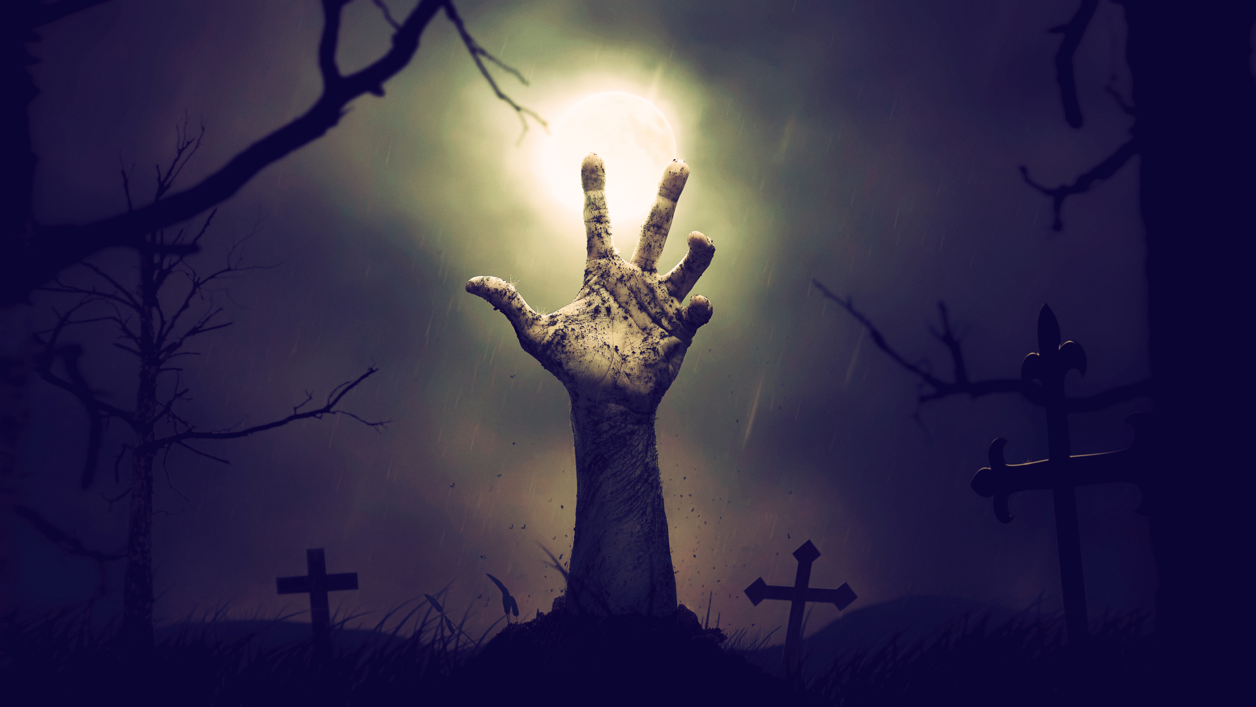 2560x1440 Zombie Hand From Cemetery 1440p Resolution Wallpaper Hd Fantasy 4k Wallpapers Images Photos And Background