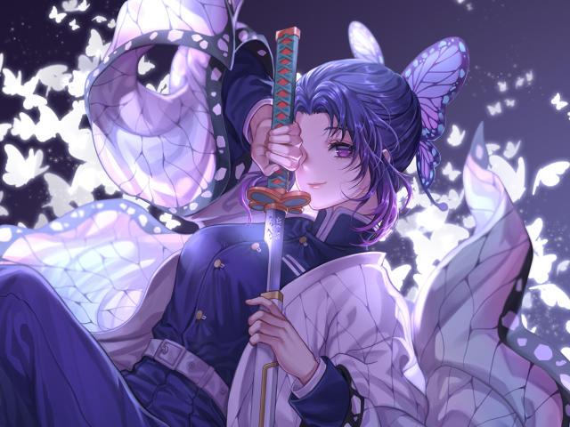 4K Shinobu Kocho Katana Kimetsu no Yaiba Wallpaper, HD ...