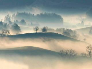 4K Foggy Landscape wallpaper
