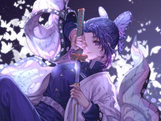 4K Shinobu Kocho Katana Kimetsu no Yaiba wallpaper